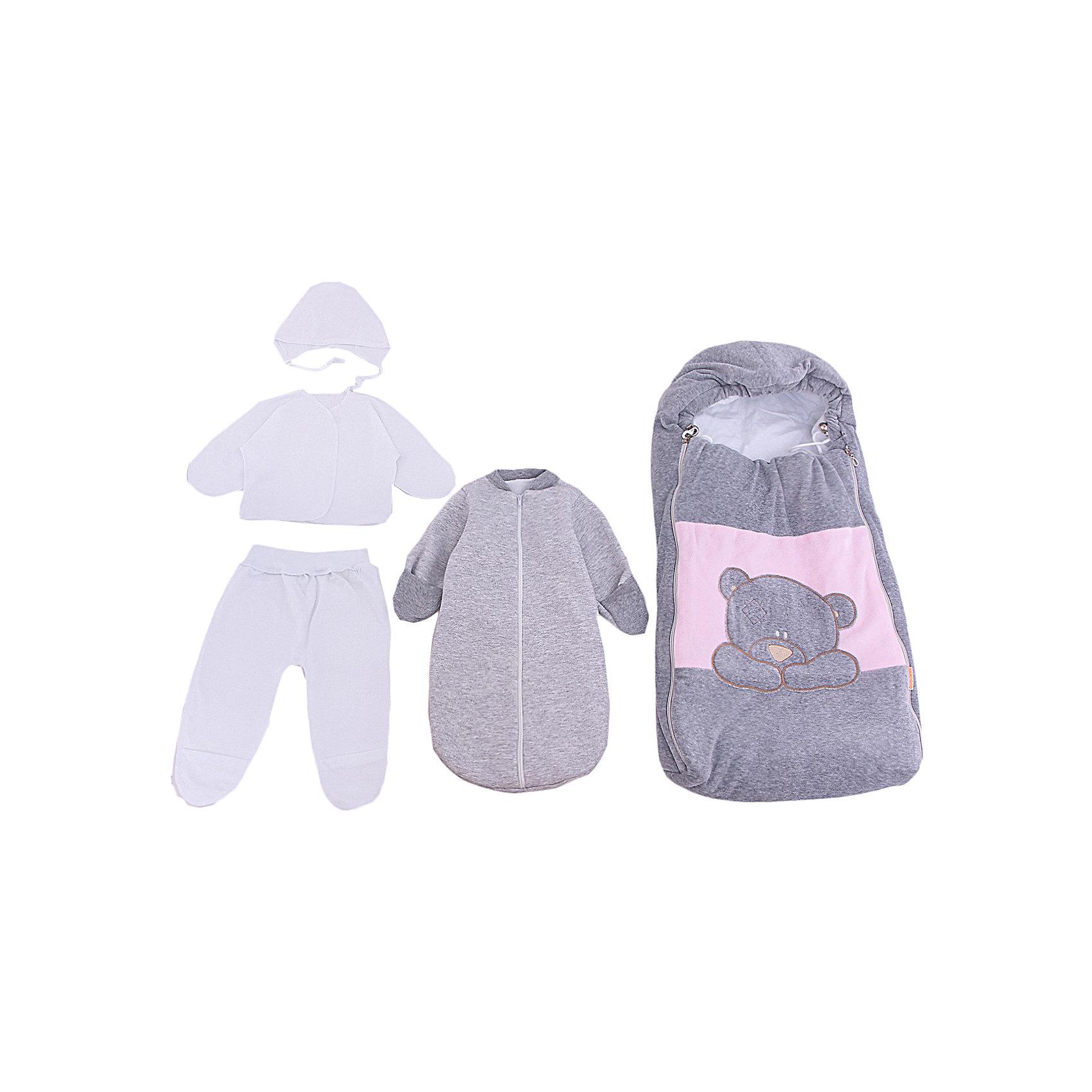 Комплект на выписку 6 пред., GulSara, 81 весна-осень велюр серый розовыйКонверты на выписку<br>Характеристики:<br><br>• Вид детского текстиля: комплект на выписку<br>• Предназначение: на выписку, для прогулки<br>• Сезон: весна, осень<br>• Утеплитель: средняя степень<br>• Температурный режим: от -10? С до +20? С<br>• Пол: для девочки<br>• Тематика рисунка: медвежонок<br>• Материал: велюр, футер, кулирка<br>• Цвет: серый, розовый, белый<br>• Комплектация:<br> конверт велюровый – 1 шт. р-р 75*40 см<br> шапочка велюр на синтепоне – 1 шт. р-р 56-36<br> спальный мешок – 1 шт. р-р 56-36 см<br> ползунки – 1 шт. р-р 56-36<br> распашонка – 1 шт. р-р 56-36<br> чепчик – 1 шт. р-р 56-36<br>• Декоративные элементы: аппликация Медвежонок<br>• Особенности ухода: машинная стирка при температуре 30 градусов без использования отбеливающих и красящих веществ<br><br>Комплект на выписку 6 пред., GulSara, 81 весна-осень велюр серый голубой от отечественного швейного производства, который выпускает современный текстиль и товары для новорожденных, изготовленных на основе вековых традиций. В своем производстве GulSara использует только экологичные и натуральные материалы, что обеспечивает их безопасность даже для малышей с чувствительной кожей. Набор предназначен для выписки в осенне-весенний период и состоит из конверта и шапочки, выполненных из мягкого и нежного велюра. <br><br>В качестве утеплителя использован синтепон – легкий, но при этом гипоаллергенный материал. Для промежуточного слоя одежды в наборе предусмотрен спальный мешок, для изготовления которого использована натуральная хлопковая ткань. Спальный мешок имеет капюшон и застежку-молнию по центру передней полочки. Комплект нижней одежды состоит из ползунков, распашонки и чепчика, изготовленных из кулирки. Конверт оформлен аппликацией в виде медвежонка. Комплект на выписку 6 пред., GulSara, 81 весна-осень велюр серый голубой создаст изысканный и неповторимый образ вашего малыша!<br><br>Комплект на выписку 6 пред., GulSara, 81 вес