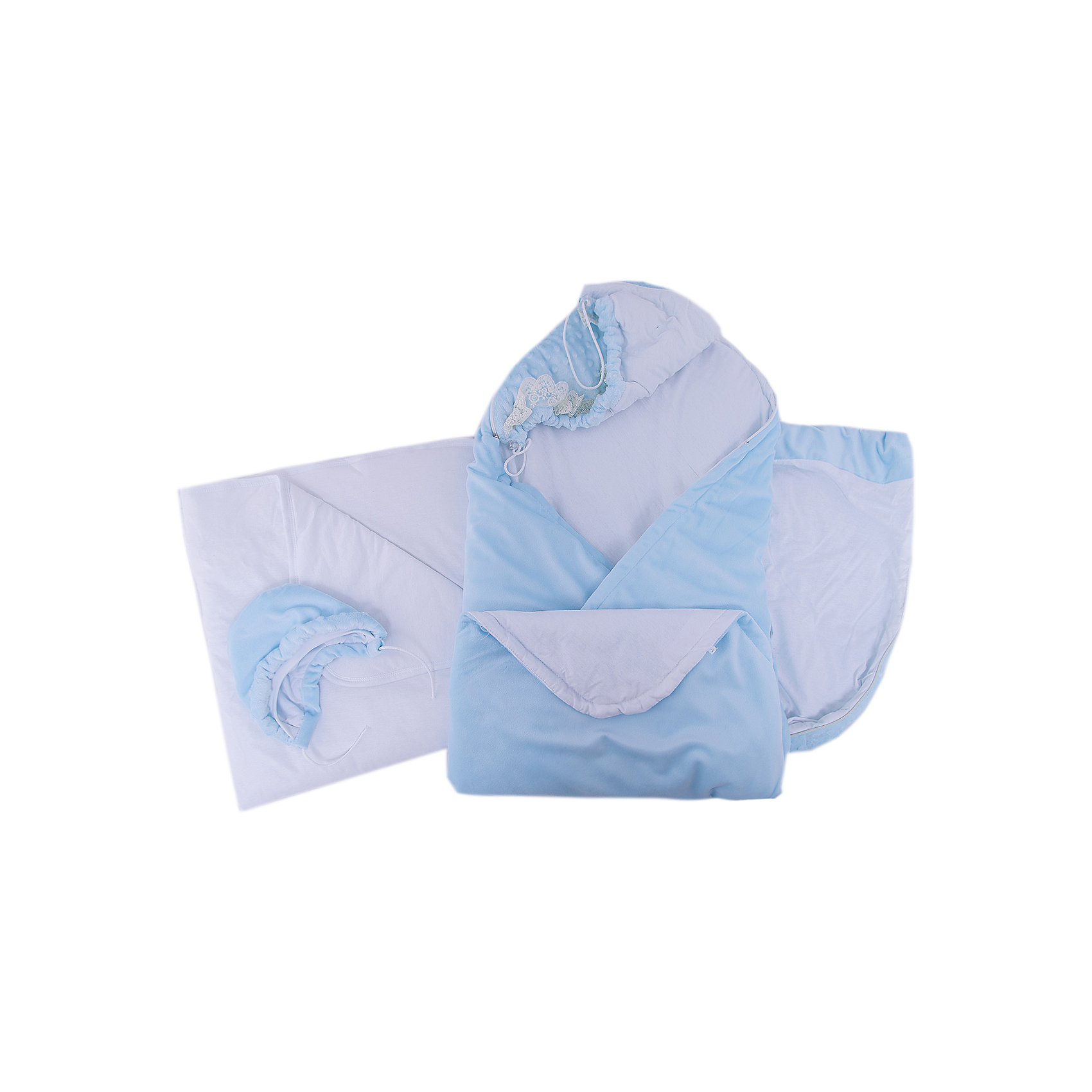 Комплект на выписку 6 пред., GulSara, 152 весна-осеньОдеяло трансформер голубойКонверты на выписку<br>Характеристики:<br><br>• Вид детского текстиля: комплект на выписку<br>• Предназначение: на выписку, для прогулки<br>• Сезон: весна, осень<br>• Утеплитель: средняя степень<br>• Температурный режим: от -10? С до +20? С<br>• Пол: для мальчика<br>• Тематика рисунка: без рисунка<br>• Материал: вельбоа, кулирка<br>• Цвет: голубой, белый<br>• Комплектация:<br> одеяло-трансформер – 1 шт. р-р 100*100 см<br> шапочка на синтепоне – 1 шт. р-р 56-36<br> одеяло на синтепоне – 1 шт. р-р 90*90 см<br> ползунки – 1 шт. р-р 56-36<br> распашонка – 1 шт. р-р 56-36<br> чепчик – 1 шт. р-р 56-36<br>• Декоративные элементы: кружево, жабо <br>• Особенности ухода: машинная стирка при температуре 30 градусов без использования отбеливающих и красящих веществ<br><br>Комплект на выписку 6 пред., GulSara, 152 весна-осень Одеяло трансформер голубой от отечественного швейного производства, который выпускает современный текстиль и товары для новорожденных, изготовленных на основе вековых традиций. В своем производстве GulSara использует только экологичные и натуральные материалы, что обеспечивает их безопасность даже для малышей с чувствительной кожей. Набор предназначен для выписки в осенне-весенний период и состоит из одеяла и шапочки, выполненных из вельбоа (мягкая ткань с нежным ворсом). <br><br>В качестве утеплителя использован синтепон – легкий, но при этом гипоаллергенный материал. Дополнительно в наборе предусмотрено синтепоновое одеяло. Комплект нижней одежды состоит из ползунков, распашонки и чепчика, изготовленных из кулирки. Одеяло-трансформер декорировано рюшами из кружева и кружевного жабо. Комплект на выписку 6 пред., GulSara, 152 весна-осень Одеяло трансформер голубой создаст изысканный и неповторимый образ вашего малыша!<br><br>Комплект на выписку 6 пред., GulSara, 152 весна-осень Одеяло трансформер голубой можно купить в нашем интернет-магазине.<br><br>Ширина мм: 750<br>Глубина мм: