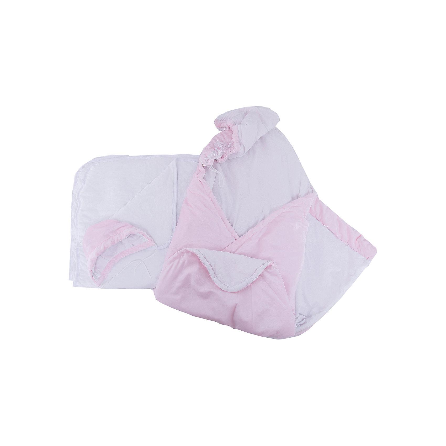 Комплект на выписку 6 пред., GulSara, 152 весна-осеньОдеяло трансформер розовыйКонверты на выписку<br>Характеристики:<br><br>• Вид детского текстиля: комплект на выписку<br>• Предназначение: на выписку, для прогулки<br>• Сезон: весна, осень<br>• Утеплитель: средняя степень<br>• Температурный режим: от -10? С до +20? С<br>• Пол: для девочки<br>• Тематика рисунка: без рисунка<br>• Материал: вельбоа, кулирка<br>• Цвет: розовый, белый<br>• Комплектация:<br> одеяло-трансформер – 1 шт. р-р 100*100 см<br> шапочка на синтепоне – 1 шт. р-р 56-36<br> одеяло на синтепоне – 1 шт. р-р 90*90 см<br> ползунки – 1 шт. р-р 56-36<br> распашонка – 1 шт. р-р 56-36<br> чепчик – 1 шт. р-р 56-36<br>• Декоративные элементы: кружево, жабо <br>• Особенности ухода: машинная стирка при температуре 30 градусов без использования отбеливающих и красящих веществ<br><br>Комплект на выписку 6 пред., GulSara, 152 весна-осень Одеяло трансформер розовый от отечественного швейного производства, который выпускает современный текстиль и товары для новорожденных, изготовленных на основе вековых традиций. В своем производстве GulSara использует только экологичные и натуральные материалы, что обеспечивает их безопасность даже для малышей с чувствительной кожей. Набор предназначен для выписки в осенне-весенний период и состоит из одеяла и шапочки, выполненных из вельбоа (мягкая ткань с нежным ворсом). <br><br>В качестве утеплителя использован синтепон – легкий, но при этом гипоаллергенный материал. Дополнительно в наборе предусмотрено синтепоновое одеяло. Комплект нижней одежды состоит из ползунков, распашонки и чепчика, изготовленных из кулирки. Одеяло-трансформер декорировано рюшами из кружева и кружевного жабо. Комплект на выписку 6 пред., GulSara, 152 весна-осень Одеяло трансформер розовый создаст изысканный и неповторимый образ вашего малыша!<br><br>Комплект на выписку 6 пред., GulSara, 152 весна-осень Одеяло трансформер розовый можно купить в нашем интернет-магазине.<br><br>Ширина мм: 750<br>Глубина мм: 