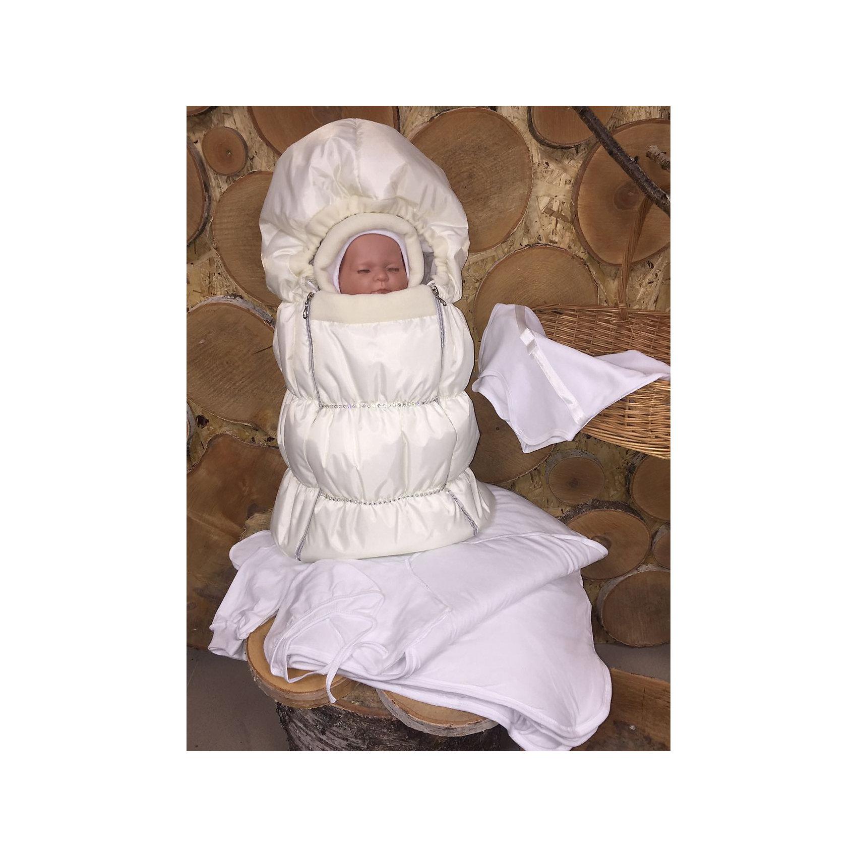 Комплект на выписку 8 пред., GulSara, 116 стразы весна-осеньшампаньНаборы одежды, конверты на выписку<br>Характеристики:<br><br>• Вид детского текстиля: комплект на выписку<br>• Предназначение: на выписку, для прогулки<br>• Сезон: весна, осень<br>• Утеплитель: средняя степень утепления<br>• Температурный режим: от -10? С до +20? С <br>• Пол: для девочки<br>• Тематика рисунка: без рисунка<br>• Материал: плащевка, кулирка, интерлок<br>• Цвет: шампань, молочный<br>• Комплектация:<br> конверт на синтепоне – 1 шт. р-р 75*40 см<br> одеяло на синтепоне – 1 шт. р-р 100*100 см<br> шапочка на синтепоне – 1 шт. р-р 56-36<br> спальный мешок – 1 шт. р-р 56-36<br> ползунки – 1 шт. р-р 56-36<br> распашонка – 1 шт. р-р 56-36<br> чепчик – 1 шт. р-р 56-36<br>• Декоративные элементы: стразы<br>• Особенности ухода: машинная стирка при температуре 30 градусов без использования отбеливающих и красящих веществ<br><br>Комплект на выписку 8 пред., GulSara, 116 стразы весна-осень шампань от отечественного швейного производства, который выпускает современный текстиль и товары для новорожденных, изготовленных на основе вековых традиций. В своем производстве GulSara использует только экологичные и натуральные материалы, что обеспечивает их безопасность даже для малышей с чувствительной кожей. <br><br>Набор предназначен для выписки в демисезонный период и состоит из конверта, одеяла и чепчика, выполненных из однотонной плащевки. У конверта предусмотрены две застежки-молнии по бокам на передней полочке. Среднюю степень утепления конверту и одеялу обеспечивает синтепон, который имеет легкий вес и является гипоаллергенным материалом. Для промежуточного слоя одежды предусмотрен спальный мешок на молнии. Комплект нижней одежды состоит из ползунков, распашонки и чепчика. Конверт декорирован горизонтальными дорожками, выложенными стразами. <br><br>Комплект на выписку 8 пред., GulSara, 116 стразы весна-осень шампань создаст изысканный и неповторимый образ вашего малыша!<br><br>Комплект на выписку 8 пред