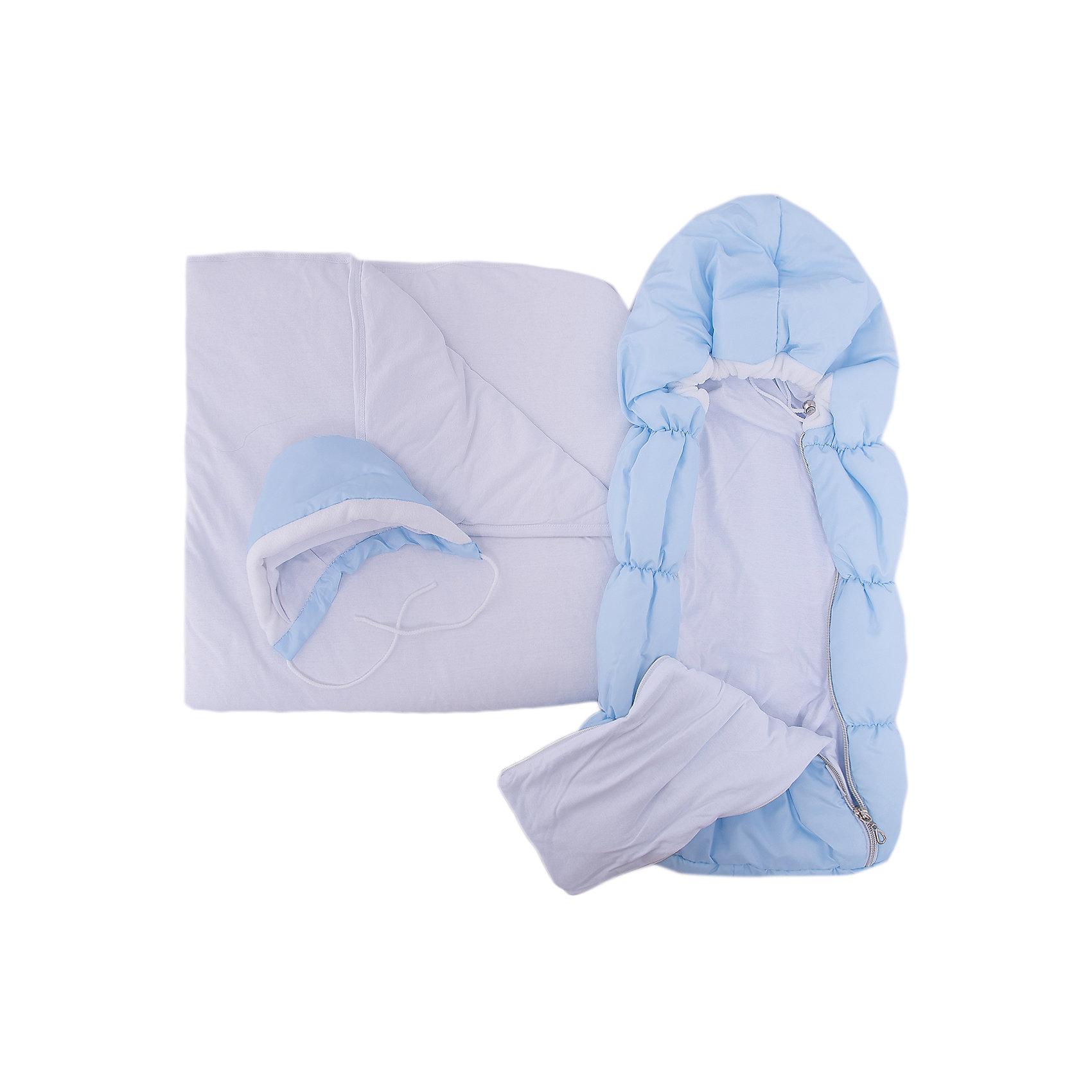 Комплект на выписку 8 пред., GulSara, 116 весна-осень голубойНаборы одежды, конверты на выписку<br>Характеристики:<br><br>• Вид детского текстиля: комплект на выписку<br>• Предназначение: на выписку, для прогулки<br>• Сезон: весна, осень<br>• Утеплитель: средняя степень утепления<br>• Температурный режим: от -10? С до +20? С <br>• Пол: для мальчика<br>• Тематика рисунка: без рисунка<br>• Материал: плащевка, кулирка, интерлок<br>• Цвет: голубой, молочный<br>• Комплектация:<br> конверт на синтепоне – 1 шт. р-р 75*40 см<br> одеяло на синтепоне – 1 шт. р-р 100*100 см<br> шапочка на синтепоне – 1 шт. р-р 56-36<br> спальный мешок – 1 шт. р-р 56-36<br> ползунки – 1 шт. р-р 56-36<br> распашонка – 1 шт. р-р 56-36<br> чепчик – 1 шт. р-р 56-36<br>• Особенности ухода: машинная стирка при температуре 30 градусов без использования отбеливающих и красящих веществ<br><br>Комплект на выписку 8 пред., GulSara, 116 стразы весна-осень голубой от отечественного швейного производства, который выпускает современный текстиль и товары для новорожденных, изготовленных на основе вековых традиций. В своем производстве GulSara использует только экологичные и натуральные материалы, что обеспечивает их безопасность даже для малышей с чувствительной кожей. <br><br>Набор предназначен для выписки в демисезонный период и состоит из конверта, одеяла и чепчика, выполненных из однотонной плащевки. У конверта предусмотрены две застежки-молнии по бокам на передней полочке. Среднюю степень утепления конверту и одеялу обеспечивает синтепон, который имеет легкий вес и является гипоаллергенным материалом. Для промежуточного слоя одежды предусмотрен спальный мешок на молнии. Комплект нижней одежды состоит из ползунков, распашонки и чепчика. <br><br>Комплект на выписку 8 пред., GulSara, 116 стразы весна-осень голубой создаст изысканный и неповторимый образ вашего малыша!<br><br>Комплект на выписку 8 пред., GulSara, 116 стразы весна-осень голубой можно купить в нашем интернет-магазине.<br><br>Ширина мм: 750<br>Г