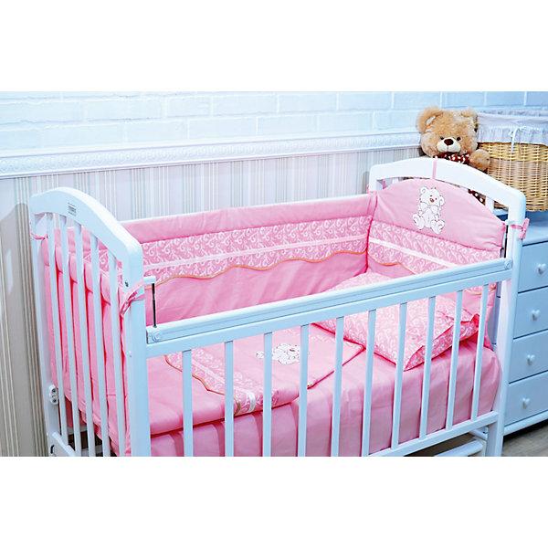 Борт в кроватку, GulSara, 18.27 розовыйПостельное белье в кроватку новорождённого<br>Характеристики:<br><br>• Вид детского текстиля: бортики для детской кроватки<br>• Пол: для девочки<br>• Тематика рисунка: медвежонок<br>• Сезон: круглый год<br>• Материал: бязь (хлопок 100%)<br>• Наполнитель: синтепон (полиэстер 100%)<br>• Цвет: розовый, белый<br>• Размеры (Д*В): 360*40 см (55 см – высота боковин)<br>• Комплектация: 4 части <br>• Способ крепления к кроватке: завязки <br>• Декоративные элементы: широкие рюши, вышивка<br>• Упаковка: полиэтилен <br>• Вес в упаковке: 980 г<br>• Особенности ухода: ручная или машинная стирка на деликатном режиме при температуре не более 30 градусов без применения красящих и отбеливающих веществ<br><br>Борт в кроватку, GulSara, 18.27 розовый от отечественного швейного производства, который выпускает современный текстиль и товары для новорожденных, изготовленных на основе вековых традиций. В своем производстве GulSara использует только экологичные и натуральные материалы, что обеспечивает их безопасность даже для малышей с чувствительной кожей. Бортики предназначены для детских кроваток стандартного размера, спальное место которых составляет не менее 120*60 см. <br><br>Изделие выполнено из четырех частей, каждая из которых крепится к кроватке при помощи завязок. Бортики изготовлены из бязи высокого качества, в качестве наполнителя использован синтепон. Такое сочетание обеспечивает не только легкость и воздухопроницаемость, но и обладает достаточно хорошими износоустойчивыми характеристиками. Бортики выполнены в оригинальном дизайне: широкая рюша с волнистым краем, отделанным косой бейкой, и вышивка в виде медвежонка.<br><br>Борт в кроватку, GulSara, 18.27 розовый – эти бортики не только обеспечат безопасность вашего малыша, но и создадут оригинальный и изысканный стиль детской кроватки! <br><br>Борт в кроватку, GulSara, 18.27 розовый можно купить в нашем интернет-магазине.<br><br>Ширина мм: 620<br>Глубина мм: 50<br>Высота мм: 510<br>Вес г: 