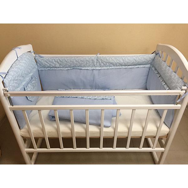 Борт в кроватку, GulSara, 18.12 голубойПостельное белье в кроватку новорождённого<br>Характеристики:<br><br>• Вид детского текстиля: бортики для детской кроватки<br>• Пол: для мальчика<br>• Тематика рисунка: веточки<br>• Сезон: круглый год<br>• Материал: бязь (хлопок 100%)<br>• Наполнитель: синтепон (полиэстер 100%)<br>• Цвет: голубой, белый<br>• Размеры (Д*В): 360*44 см (55 см – высота боковин)<br>• Комплектация: 4 части <br>• Способ крепления к кроватке: завязки <br>• Декоративные элементы: рюши, кармашек<br>• Упаковка: полиэтилен <br>• Вес в упаковке: 980 г<br>• Особенности ухода: ручная или машинная стирка на деликатном режиме при температуре не более 30 градусов без применения красящих и отбеливающих веществ<br><br>Борт в кроватку, GulSara, 18.12 голубой от отечественного швейного производства, который выпускает современный текстиль и товары для новорожденных, изготовленных на основе вековых традиций. В своем производстве GulSara использует только экологичные и натуральные материалы, что обеспечивает их безопасность даже для малышей с чувствительной кожей. Бортики предназначены для детских кроваток стандартного размера, спальное место которых составляет не менее 120*60 см. <br><br>Изделие выполнено из четырех частей, каждая из которых крепится к кроватке при помощи завязок. Бортики изготовлены из бязи высокого качества, в качестве наполнителя использован синтепон. Такое сочетание обеспечивает не только легкость и воздухопроницаемость, но и обладает достаточно хорошими износоустойчивыми характеристиками. Бортики выполнены в оригинальном дизайне: сочетание однотонной бязи с принтованной тканью. Оформлены рюшей, на одной из частей предусмотрен кармашек для любимой игрушки или мелочей.<br><br>Борт в кроватку, GulSara, 18.12 голубой – эти бортики не только обеспечат безопасность вашего малыша, но и создадут оригинальный и изысканный стиль детской кроватки! <br><br>Борт в кроватку, GulSara, 18.12 голубой можно купить в нашем интернет-магазине.<br><br>Ширина мм: 620<b