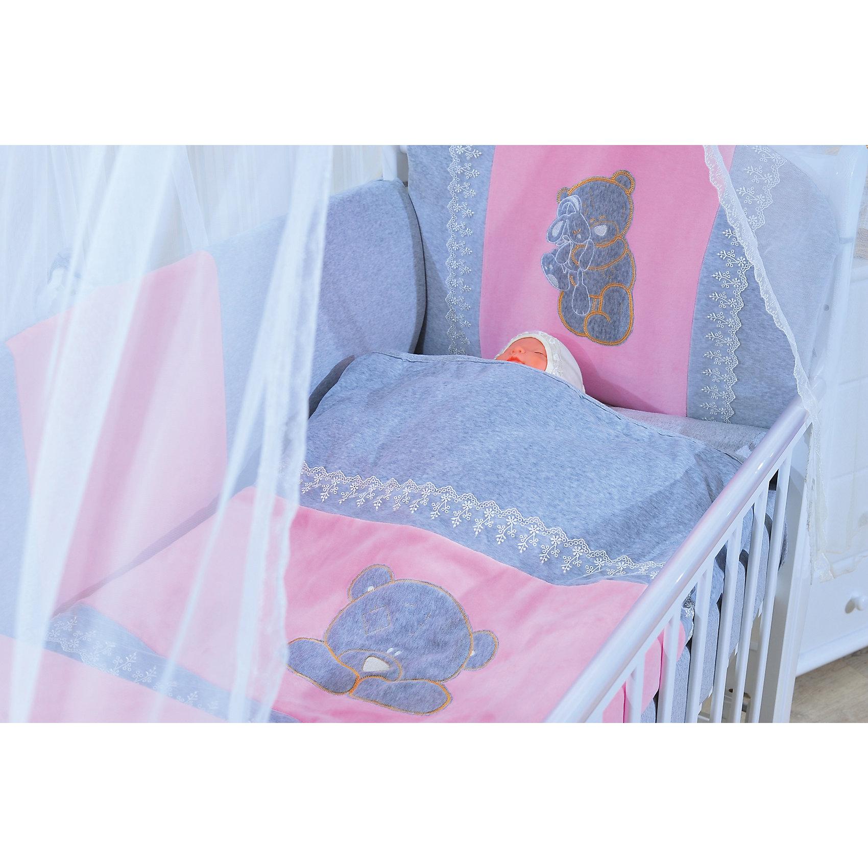 Комплект в кроватку 6 пред., GulSara, 46 розовыйПостельное бельё<br>Характеристики:<br><br>• Вид детского текстиля: комплект для детской кроватки<br>• Пол: для девочки<br>• Тематика рисунка: медвежонок<br>• Сезон: круглый год<br>• Материал: велюр, трикотаж, вуаль<br>• Наполнитель: синтепон и холофабер (полиэстер 100%)<br>• Цвет: розовый, голубой<br> одеяло -плед– 1 шт. 110*140 см <br> простынь на резинке – 1 шт. 100*140 см<br> наволочка – 1 шт. 40*60 см<br> подушка – 1 шт. 40*60 см<br> бортики – 4 части (Д*В): 360*40 см <br> балдахин – 1 шт. 400*150 см<br>• Способ крепления к кроватке бортиков: завязки <br>• Упаковка: полиэтилен <br>• Вес в упаковке: 1 кг 780 г<br>• Особенности ухода: ручная или машинная стирка на деликатном режиме при температуре не более 30 градусов без применения красящих и отбеливающих веществ<br><br>Комплект в кроватку 6 пред., GulSara, 46 розовый от отечественного швейного производства, который выпускает современный текстиль и товары для новорожденных, изготовленных на основе вековых традиций. В своем производстве GulSara использует только экологичные и натуральные материалы, что обеспечивает их безопасность даже для малышей с чувствительной кожей. Комплект из 6-ти предметов предназначен для детской кроватки стандартного размера и включает в себя: плед, подушку, наволочку, простынь, бортики и балдахин. <br><br>Все изделия выполнены из натуральных тканей с повышенными гигиеническими характеристиками. При частых стирках ткань сохраняет свои свойства: не изменяет формы и плотности полотна, не выцветает. Бортики выполнены из 4-х частей, каждая из которых крепится к кроватке при помощи завязок. Комплект выполнен в едином стиле: сочетание элементов розового и голубых оттенков декорировано аппликацией из медвежат и кружевом белого цвета.<br><br>Комплект в кроватку 6 пред., GulSara, 46 розовый – постельное белье, которое обеспечит здоровый и спокойный сон для вашего малыша! <br><br>Комплект в кроватку 6 пред., GulSara, 46 розовый можно купить в нашем 