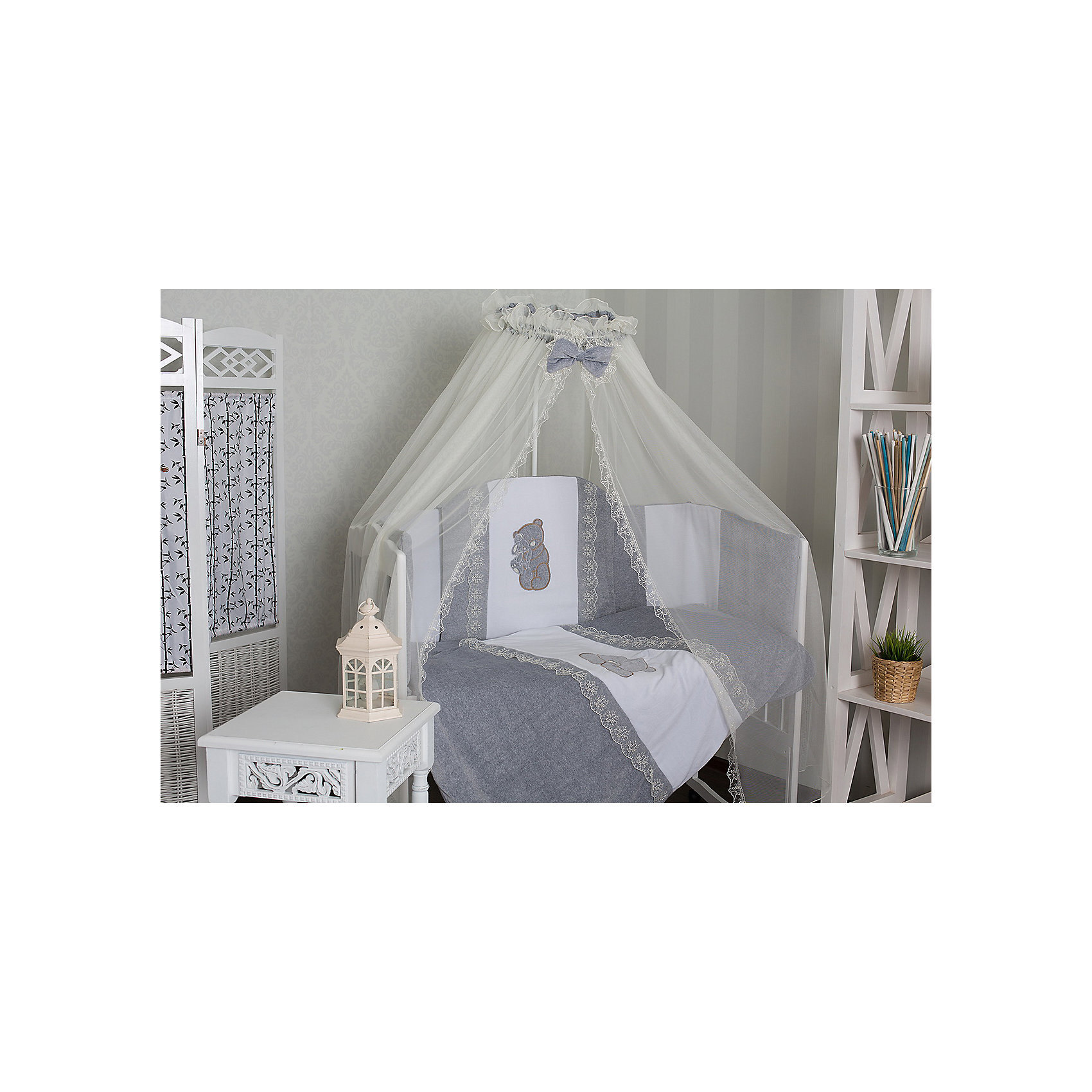 Комплект в кроватку 6 пред., GulSara, 46 бежевыйПостельное бельё<br>Характеристики:<br><br>• Вид детского текстиля: комплект для детской кроватки<br>• Пол: универсальный<br>• Тематика рисунка: медвежонок<br>• Сезон: круглый год<br>• Материал: велюр, трикотаж, вуаль<br>• Наполнитель: синтепон и холофабер (полиэстер 100%)<br>• Цвет: бежевый, белый<br> одеяло -плед– 1 шт. 110*140 см <br> простынь на резинке – 1 шт. 100*140 см<br> наволочка – 1 шт. 40*60 см<br> подушка – 1 шт. 40*60 см<br> бортики – 4 части (Д*В): 360*40 см <br> балдахин – 1 шт. 400*150 см<br>• Способ крепления к кроватке бортиков: завязки <br>• Упаковка: полиэтилен <br>• Вес в упаковке: 1 кг 780 г<br>• Особенности ухода: ручная или машинная стирка на деликатном режиме при температуре не более 30 градусов без применения красящих и отбеливающих веществ<br><br>Комплект в кроватку 6 пред., GulSara, 46 бежевый от отечественного швейного производства, который выпускает современный текстиль и товары для новорожденных, изготовленных на основе вековых традиций. В своем производстве GulSara использует только экологичные и натуральные материалы, что обеспечивает их безопасность даже для малышей с чувствительной кожей. Комплект из 6-ти предметов предназначен для детской кроватки стандартного размера и включает в себя: плед, подушку, наволочку, простынь, бортики и балдахин. <br><br>Все изделия выполнены из натуральных тканей с повышенными гигиеническими характеристиками. При частых стирках ткань сохраняет свои свойства: не изменяет формы и плотности полотна, не выцветает. Бортики выполнены из 4-х частей, каждая из которых крепится к кроватке при помощи завязок. Комплект выполнен в едином стиле: сочетание элементов розового и голубых оттенков декорировано аппликацией из медвежат и кружевом белого цвета.<br><br>Комплект в кроватку 6 пред., GulSara, 46 бежевый – постельное белье, которое обеспечит здоровый и спокойный сон для вашего малыша! <br><br>Комплект в кроватку 6 пред., GulSara, 46 бежевый можно купить в нашем 