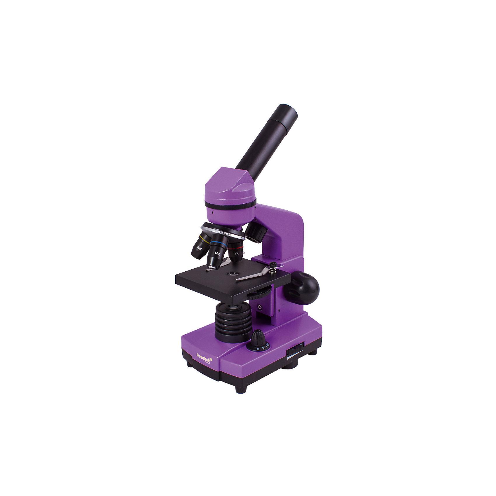 Микроскоп Levenhuk Rainbow 2L Amethyst\АметистХарактеристики товара:<br><br>• материал: металл, пластик<br>• увеличение: до 400 крат<br>• объективы: 4х, 10х, 40х<br>• подсветка: светодиодная<br>• подсветка работает от батареек 3хАА<br>• комплектация: микроскоп, окуляр WF16х, предметный столик с зажимами, диск с диафрагмами, адаптер питания от сети (питание 110-220 В, 50 Гц), инструкция по эксплуатации и гарантийный талон, пинцет, инкубатор для артемии, микротом, флакон с дрожжами, флакон со смолой для изготовления препаратов, флакон с морской солью, флакон с артемией (морским рачком), 5 готовых образцов и 5 чистых предметных стекол, пипетка<br>• диаметр окулярной трубки: 23,2 мм<br>• страна бренда: США<br>• страна производства: КНР<br><br>Собственный микроскоп - это отличный способ заинтересовать ребенка наукой и привить ему интерес к учебе. Эта модель микроскопа была разработана специально для детей - он позволяет увеличивать препарат в 400 крат, с помощью этого дети могут исследовать состав и структуру разнообразных предметов, веществ и организмов. Благодаря стильному дизайну этот микроскоп отлично вписывается в интерьер!<br><br>Оптические приборы от американской компании Levenhuk уже успели зарекомендовать себя как качественная и надежная продукция. Для их производства используются только безопасные и проверенные материалы. Такой прибор способен прослужить долго. Подарите ребенку интересную и полезную вещь!<br><br>Микроскоп Levenhuk Rainbow 2L Amethyst\Аметист от известного бренда Levenhuk (Левенгук) можно купить в нашем интернет-магазине.<br><br>Ширина мм: 230<br>Глубина мм: 150<br>Высота мм: 370<br>Вес г: 1530<br>Возраст от месяцев: 60<br>Возраст до месяцев: 2147483647<br>Пол: Унисекс<br>Возраст: Детский<br>SKU: 5435265