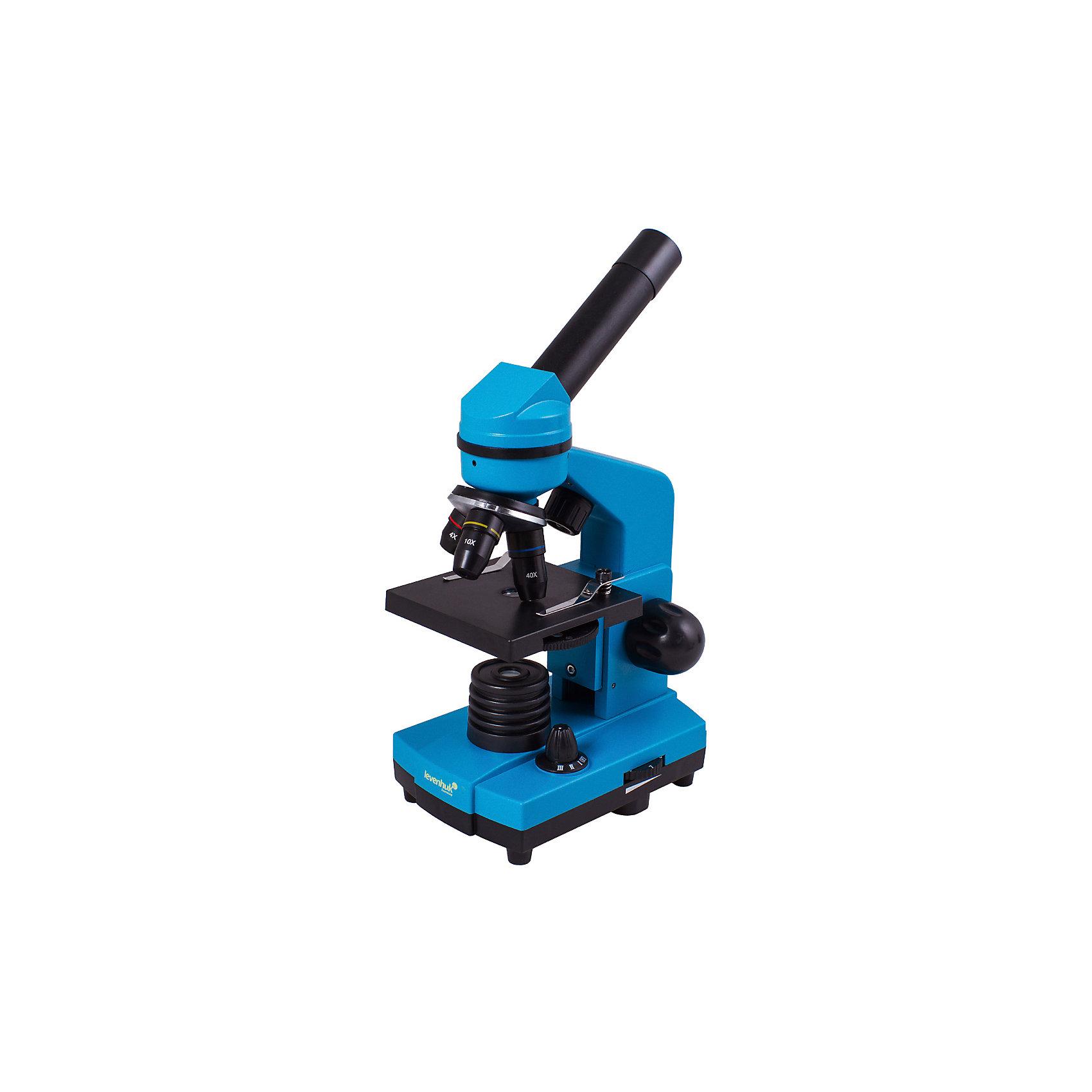 Микроскоп Levenhuk Rainbow 2L Azure\ЛазурьМикроскопы<br>Характеристики товара:<br><br>• материал: металл, пластик<br>• увеличение: до 400 крат<br>• объективы: 4х, 10х, 40х<br>• подсветка: светодиодная<br>• подсветка работает от батареек 3хАА<br>• комплектация: микроскоп, окуляр WF16х, предметный столик с зажимами, диск с диафрагмами, адаптер питания от сети (питание 110-220 В, 50 Гц), инструкция по эксплуатации и гарантийный талон, пинцет, инкубатор для артемии, микротом, флакон с дрожжами, флакон со смолой для изготовления препаратов, флакон с морской солью, флакон с артемией (морским рачком), 5 готовых образцов и 5 чистых предметных стекол, пипетка<br>• диаметр окулярной трубки: 23,2 мм<br>• страна бренда: США<br>• страна производства: КНР<br><br>Собственный микроскоп - это отличный способ заинтересовать ребенка наукой и привить ему интерес к учебе. Эта модель микроскопа была разработана специально для детей - он позволяет увеличивать препарат в 400 крат, с помощью этого дети могут исследовать состав и структуру разнообразных предметов, веществ и организмов. Благодаря стильному дизайну этот микроскоп отлично вписывается в интерьер!<br><br>Оптические приборы от американской компании Levenhuk уже успели зарекомендовать себя как качественная и надежная продукция. Для их производства используются только безопасные и проверенные материалы. Такой прибор способен прослужить долго. Подарите ребенку интересную и полезную вещь!<br><br>Микроскоп Levenhuk Rainbow 2L Azure\Лазурь от известного бренда Levenhuk (Левенгук) можно купить в нашем интернет-магазине.<br><br>Ширина мм: 230<br>Глубина мм: 150<br>Высота мм: 370<br>Вес г: 1530<br>Возраст от месяцев: 60<br>Возраст до месяцев: 2147483647<br>Пол: Унисекс<br>Возраст: Детский<br>SKU: 5435266