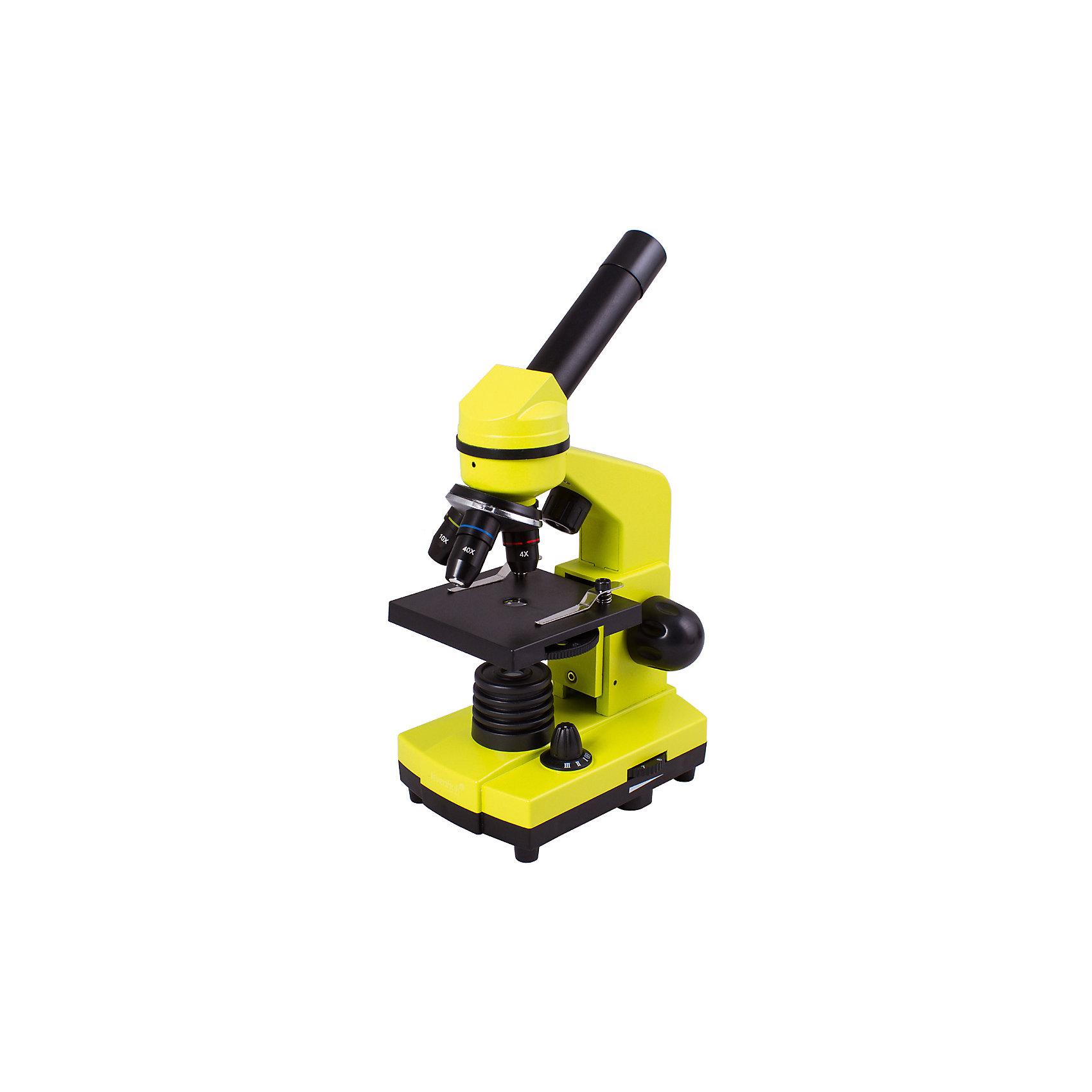 Микроскоп Levenhuk Rainbow 2L Lime\ЛаймМикроскопы<br>Характеристики товара:<br><br>• материал: металл, пластик<br>• увеличение: до 400 крат<br>• объективы: 4х, 10х, 40х<br>• подсветка: светодиодная<br>• подсветка работает от батареек 3хАА<br>• комплектация: микроскоп, окуляр WF16х, предметный столик с зажимами, диск с диафрагмами, адаптер питания от сети (питание 110-220 В, 50 Гц), инструкция по эксплуатации и гарантийный талон, пинцет, инкубатор для артемии, микротом, флакон с дрожжами, флакон со смолой для изготовления препаратов, флакон с морской солью, флакон с артемией (морским рачком), 5 готовых образцов и 5 чистых предметных стекол, пипетка<br>• диаметр окулярной трубки: 23,2 мм<br>• страна бренда: США<br>• страна производства: КНР<br><br>Собственный микроскоп - это отличный способ заинтересовать ребенка наукой и привить ему интерес к учебе. Эта модель микроскопа была разработана специально для детей - он позволяет увеличивать препарат в 400 крат, с помощью этого дети могут исследовать состав и структуру разнообразных предметов, веществ и организмов. Благодаря стильному дизайну этот микроскоп отлично вписывается в интерьер!<br><br>Оптические приборы от американской компании Levenhuk уже успели зарекомендовать себя как качественная и надежная продукция. Для их производства используются только безопасные и проверенные материалы. Такой прибор способен прослужить долго. Подарите ребенку интересную и полезную вещь!<br><br>Микроскоп Levenhuk Rainbow 2L Lime\Лайм от известного бренда Levenhuk (Левенгук) можно купить в нашем интернет-магазине.<br><br>Ширина мм: 230<br>Глубина мм: 150<br>Высота мм: 370<br>Вес г: 1530<br>Возраст от месяцев: 60<br>Возраст до месяцев: 2147483647<br>Пол: Унисекс<br>Возраст: Детский<br>SKU: 5435267