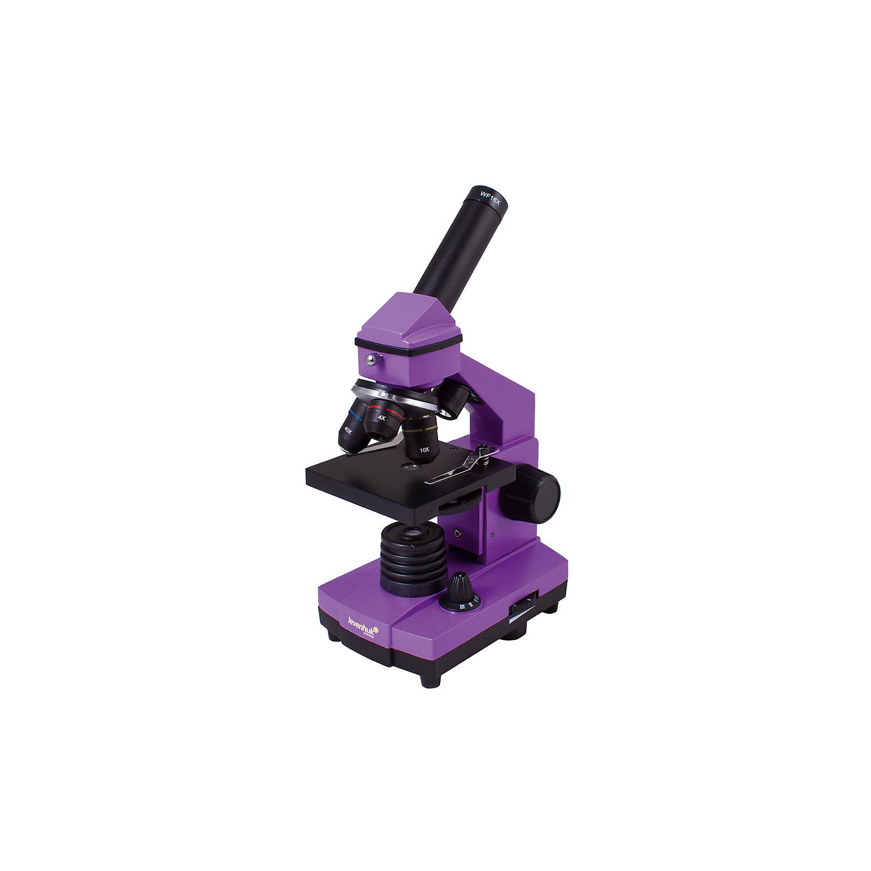 Микроскоп Levenhuk Rainbow 2L PLUS Amethyst\АметистМикроскопы<br>Характеристики товара:<br><br>• материал: металл, пластик<br>• увеличение: до 640 крат<br>• набор для опытов в комплекте<br>• прочный металлический корпус<br>• подсветка: светодиод<br>• лампа работает от батареек 3хАА<br>• комплектация: микроскоп, объективы: 4х, 10х и 40хs, окуляр: WF16x, Предметный столик с зажимами, диск с диафрагмами, конденсор, встроенные нижний и верхний осветители на светодиодах, сетевой адаптер (питание 220 В, 50 Гц), инструкция по эксплуатации и гарантийный талон, пинцет, инкубатор для артемии, микротом, флакон с дрожжами, флакон со смолой для изготовления препаратов, флакон с морской солью, флакон с артемией (морским рачком), 5 готовых образцов и 5 чистых предметных стекол, пипетка, пылезащитный чехол<br>• страна бренда: США<br>• страна производства: КНР<br><br>Собственный микроскоп - это отличный способ заинтересовать ребенка наукой и привить ему интерес к учебе. Эта модель микроскопа была разработана специально для детей - он позволяет увеличивать препарат в 640 крат, с помощью этого дети могут исследовать состав и структуру разнообразных предметов, веществ и организмов. Благодаря стильному дизайну этот микроскоп отлично вписывается в интерьер!<br><br>Оптические приборы от американской компании Levenhuk уже успели зарекомендовать себя как качественная и надежная продукция. Для их производства используются только безопасные и проверенные материалы. Такой прибор способен прослужить долго. Подарите ребенку интересную и полезную вещь!<br><br>Микроскоп Levenhuk Rainbow 2L PLUS Amethyst\Аметист от известного бренда Levenhuk (Левенгук) можно купить в нашем интернет-магазине.<br><br>Ширина мм: 230<br>Глубина мм: 150<br>Высота мм: 370<br>Вес г: 1840<br>Возраст от месяцев: 60<br>Возраст до месяцев: 2147483647<br>Пол: Унисекс<br>Возраст: Детский<br>SKU: 5435275