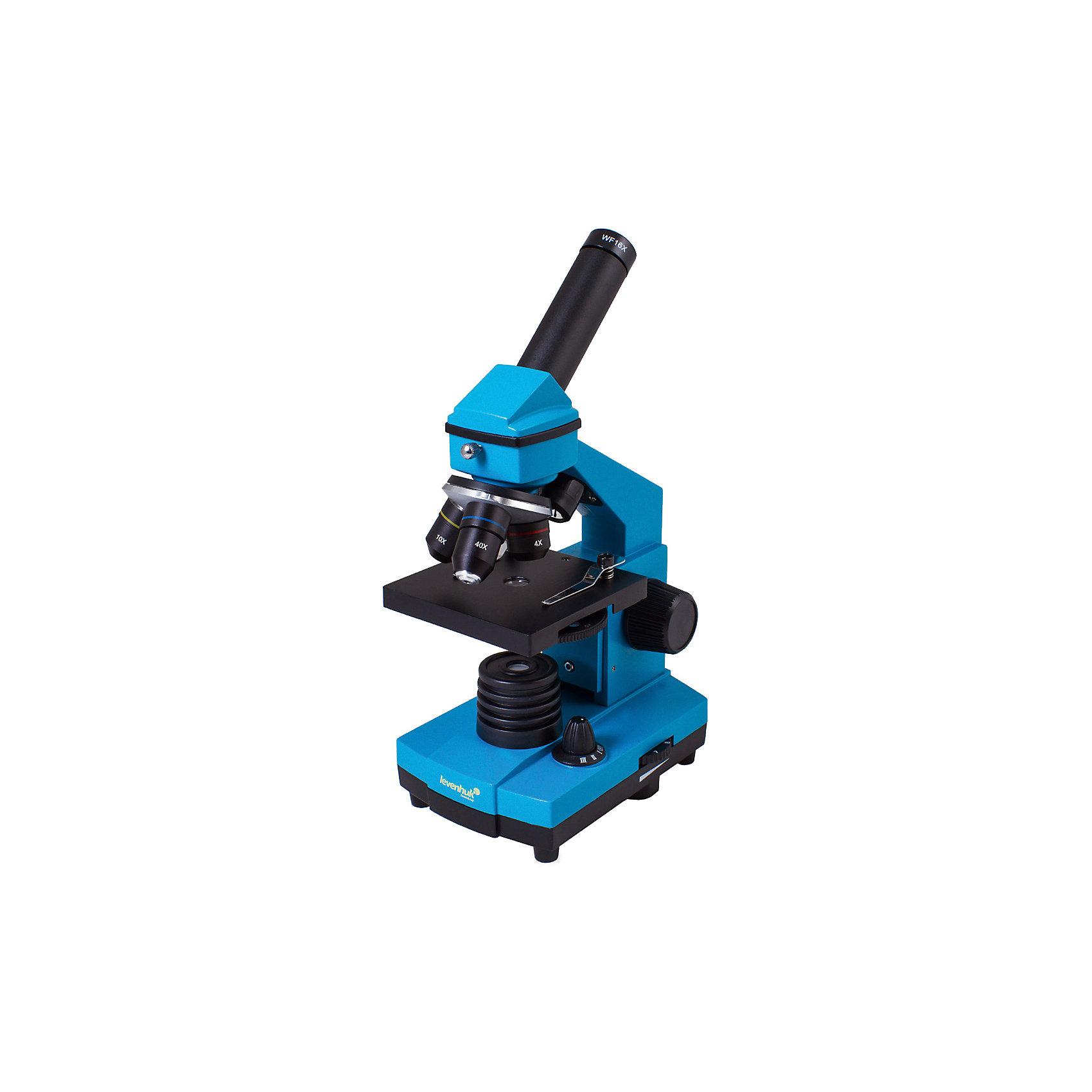 Микроскоп Levenhuk Rainbow 2L PLUS Azure\ЛазурьМикроскопы<br>Характеристики товара:<br><br>• материал: металл, пластик<br>• увеличение: до 640 крат<br>• набор для опытов в комплекте<br>• прочный металлический корпус<br>• подсветка: светодиод<br>• лампа работает от батареек 3хАА<br>• комплектация: микроскоп, объективы: 4х, 10х и 40хs, окуляр: WF16x, Предметный столик с зажимами, диск с диафрагмами, конденсор, встроенные нижний и верхний осветители на светодиодах, сетевой адаптер (питание 220 В, 50 Гц), инструкция по эксплуатации и гарантийный талон, пинцет, инкубатор для артемии, микротом, флакон с дрожжами, флакон со смолой для изготовления препаратов, флакон с морской солью, флакон с артемией (морским рачком), 5 готовых образцов и 5 чистых предметных стекол, пипетка, пылезащитный чехол<br>• страна бренда: США<br>• страна производства: КНР<br><br>Собственный микроскоп - это отличный способ заинтересовать ребенка наукой и привить ему интерес к учебе. Эта модель микроскопа была разработана специально для детей - он позволяет увеличивать препарат в 640 крат, с помощью этого дети могут исследовать состав и структуру разнообразных предметов, веществ и организмов. Благодаря стильному дизайну этот микроскоп отлично вписывается в интерьер!<br><br>Оптические приборы от американской компании Levenhuk уже успели зарекомендовать себя как качественная и надежная продукция. Для их производства используются только безопасные и проверенные материалы. Такой прибор способен прослужить долго. Подарите ребенку интересную и полезную вещь!<br><br>Микроскоп Levenhuk Rainbow 2L PLUS Azure\Лазурь от известного бренда Levenhuk (Левенгук) можно купить в нашем интернет-магазине.<br><br>Ширина мм: 230<br>Глубина мм: 150<br>Высота мм: 370<br>Вес г: 1840<br>Возраст от месяцев: 60<br>Возраст до месяцев: 2147483647<br>Пол: Унисекс<br>Возраст: Детский<br>SKU: 5435276