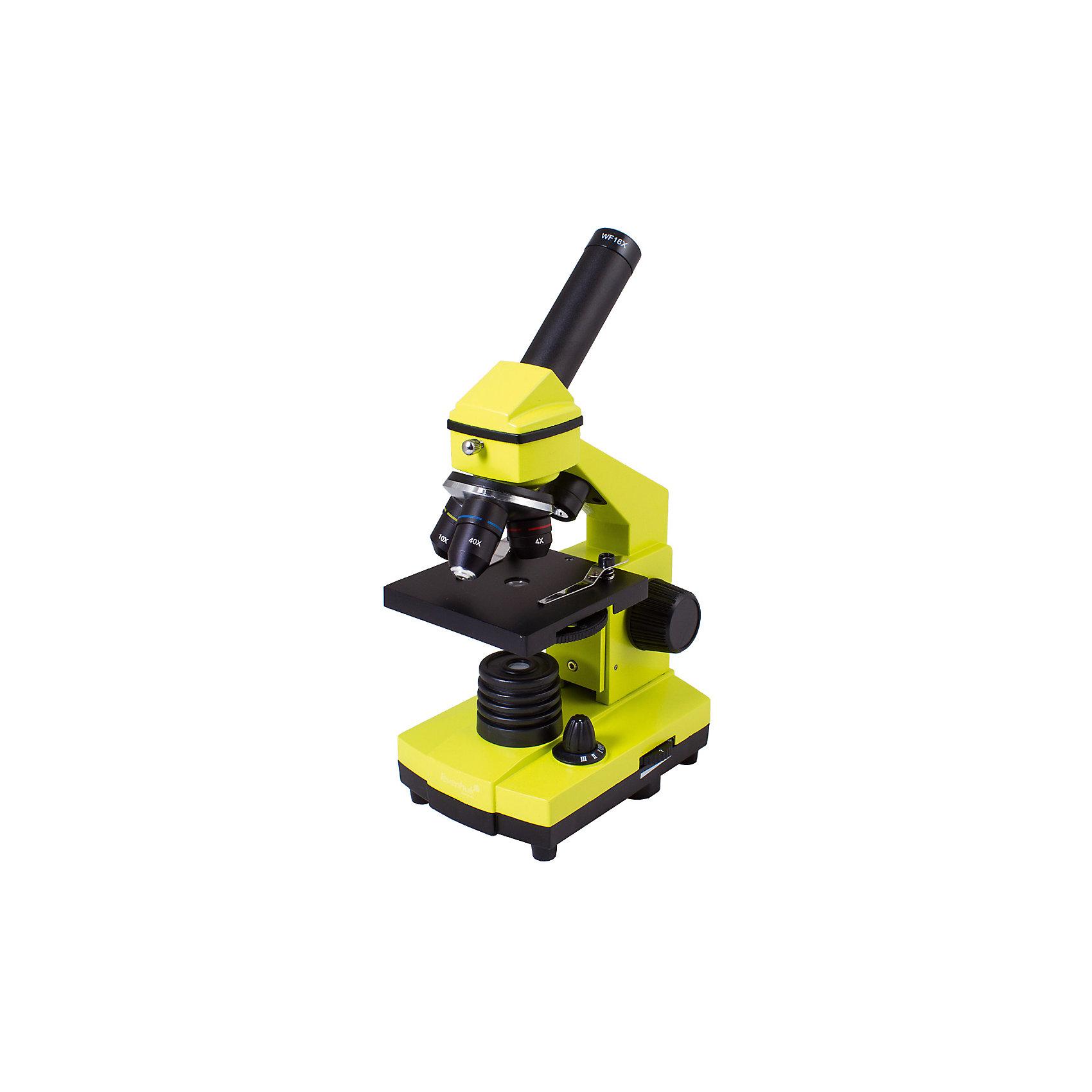 Микроскоп Levenhuk Rainbow 2L PLUS Lime\ЛаймМикроскопы<br>Характеристики товара:<br><br>• материал: металл, пластик<br>• увеличение: до 640 крат<br>• набор для опытов в комплекте<br>• прочный металлический корпус<br>• подсветка: светодиод<br>• лампа работает от батареек 3хАА<br>• комплектация: микроскоп, объективы: 4х, 10х и 40хs, окуляр: WF16x, Предметный столик с зажимами, диск с диафрагмами, конденсор, встроенные нижний и верхний осветители на светодиодах, сетевой адаптер (питание 220 В, 50 Гц), инструкция по эксплуатации и гарантийный талон, пинцет, инкубатор для артемии, микротом, флакон с дрожжами, флакон со смолой для изготовления препаратов, флакон с морской солью, флакон с артемией (морским рачком), 5 готовых образцов и 5 чистых предметных стекол, пипетка, пылезащитный чехол<br>• страна бренда: США<br>• страна производства: КНР<br><br>Собственный микроскоп - это отличный способ заинтересовать ребенка наукой и привить ему интерес к учебе. Эта модель микроскопа была разработана специально для детей - он позволяет увеличивать препарат в 640 крат, с помощью этого дети могут исследовать состав и структуру разнообразных предметов, веществ и организмов. Благодаря стильному дизайну этот микроскоп отлично вписывается в интерьер!<br><br>Оптические приборы от американской компании Levenhuk уже успели зарекомендовать себя как качественная и надежная продукция. Для их производства используются только безопасные и проверенные материалы. Такой прибор способен прослужить долго. Подарите ребенку интересную и полезную вещь!<br><br>Микроскоп Levenhuk Rainbow 2L PLUS Lime\Лайм от известного бренда Levenhuk (Левенгук) можно купить в нашем интернет-магазине.<br><br>Ширина мм: 230<br>Глубина мм: 150<br>Высота мм: 370<br>Вес г: 1840<br>Возраст от месяцев: 60<br>Возраст до месяцев: 2147483647<br>Пол: Унисекс<br>Возраст: Детский<br>SKU: 5435277