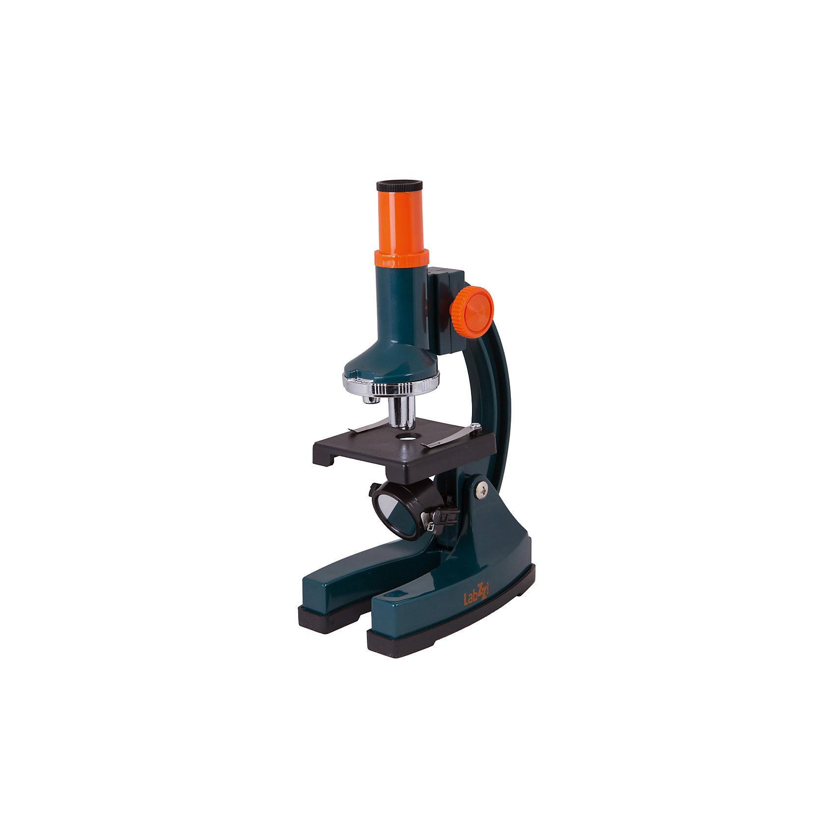 Микроскоп Levenhuk LabZZ M1Микроскопы<br>Характеристики товара:<br><br>• материал: металл, пластик<br>• увеличение: до 300 крат<br>• объективы: 10х, 20х, 30х<br>• подсветка: нижняя<br>• подсветка работает от батареек 2хАА<br>• резкость настраивается отдельной ручкой<br>• страна бренда: США<br>• страна производства: КНР<br><br>Собственный микроскоп - это отличный способ заинтересовать ребенка наукой и привить ему интерес к учебе. Эта модель микроскопа была разработана специально для детей - он позволяет увеличивать препарат в 300 крат, с помощью этого дети могут исследовать состав и структуру разнообразных предметов, веществ и организмов. Благодаря стильному дизайну этот микроскоп отлично вписывается в интерьер!<br><br>Оптические приборы от американской компании Levenhuk уже успели зарекомендовать себя как качественная и надежная продукция. Для их производства используются только безопасные и проверенные материалы. Такой прибор способен прослужить долго. Подарите ребенку интересную и полезную вещь!<br><br>Микроскоп Levenhuk LabZZ M1 от известного бренда Levenhuk (Левенгук) можно купить в нашем интернет-магазине.<br><br>Ширина мм: 81<br>Глубина мм: 211<br>Высота мм: 261<br>Вес г: 400<br>Возраст от месяцев: 60<br>Возраст до месяцев: 2147483647<br>Пол: Унисекс<br>Возраст: Детский<br>SKU: 5435289
