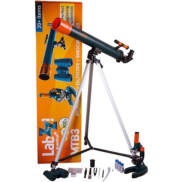 Набор Levenhuk LabZZ MTВ3: микроскоп, телескоп и бинокльМикроскопы<br>Характеристики товара:<br><br>• материал: металл, пластик<br>• увеличение микроскопа: до 900 крат<br>• подсветка микроскопа: зеркало<br>• объективы: 15х, 45х, 90х<br>• комплектация: микроскоп, телескоп, бинокль<br>• тип телескопа: рефрактор<br>• фокусное расстояние: 600<br>• световой диаметр (Апертура): 50 мм<br>• окуляры: 5 мм, 10 мм<br>• искатель: оптический, 2х<br>• тренога алюминиевая 650–1150 мм<br>• увеличение бинокля: до 6 крат<br>• тип призмы: roof<br>• центральная фокусировка<br>• страна бренда: США<br>• страна производства: КНР<br><br>Собственный набор из микроскопа и телескопа - это отличный способ заинтересовать ребенка наукой и привить ему интерес к учебе. Эти модели были разработаны специально для детей - с их помощью дети могут исследовать состав и структуру разнообразных предметов, веществ и организмов, а также наблюдать за различными объектами. Благодаря стильному дизайну этот набор может стать украшением интерьера! Также в комплект входит бинокль.<br><br>Оптические приборы от американской компании Levenhuk уже успели зарекомендовать себя как качественная и надежная продукция. Для их производства используются только безопасные и проверенные материалы. Такой прибор способен прослужить долго. Подарите ребенку интересную и полезную вещь!<br><br>Набор Levenhuk LabZZ MTВ3: микроскоп, телескоп и бинокль от известного бренда Levenhuk (Левенгук) можно купить в нашем интернет-магазине.<br><br>Ширина мм: 880<br>Глубина мм: 240<br>Высота мм: 100<br>Вес г: 1974<br>Возраст от месяцев: 60<br>Возраст до месяцев: 2147483647<br>Пол: Унисекс<br>Возраст: Детский<br>SKU: 5435293