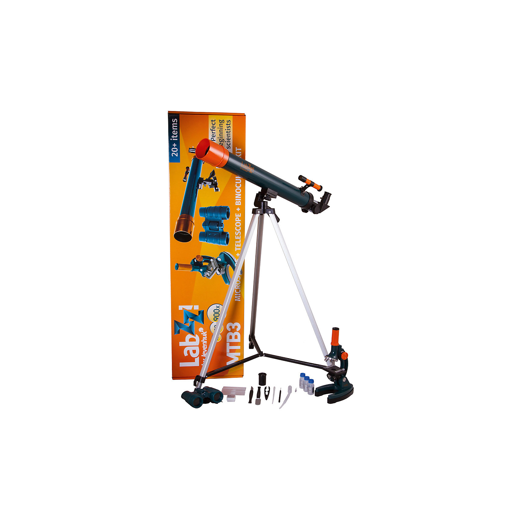 Набор Levenhuk LabZZ MTВ3: микроскоп, телескоп и бинокльДетские телескопы<br>Характеристики товара:<br><br>• материал: металл, пластик<br>• увеличение микроскопа: до 900 крат<br>• подсветка микроскопа: зеркало<br>• объективы: 15х, 45х, 90х<br>• комплектация: микроскоп, телескоп, бинокль<br>• тип телескопа: рефрактор<br>• фокусное расстояние: 600<br>• световой диаметр (Апертура): 50 мм<br>• окуляры: 5 мм, 10 мм<br>• искатель: оптический, 2х<br>• тренога алюминиевая 650–1150 мм<br>• увеличение бинокля: до 6 крат<br>• тип призмы: roof<br>• центральная фокусировка<br>• страна бренда: США<br>• страна производства: КНР<br><br>Собственный набор из микроскопа и телескопа - это отличный способ заинтересовать ребенка наукой и привить ему интерес к учебе. Эти модели были разработаны специально для детей - с их помощью дети могут исследовать состав и структуру разнообразных предметов, веществ и организмов, а также наблюдать за различными объектами. Благодаря стильному дизайну этот набор может стать украшением интерьера! Также в комплект входит бинокль.<br><br>Оптические приборы от американской компании Levenhuk уже успели зарекомендовать себя как качественная и надежная продукция. Для их производства используются только безопасные и проверенные материалы. Такой прибор способен прослужить долго. Подарите ребенку интересную и полезную вещь!<br><br>Набор Levenhuk LabZZ MTВ3: микроскоп, телескоп и бинокль от известного бренда Levenhuk (Левенгук) можно купить в нашем интернет-магазине.<br><br>Ширина мм: 880<br>Глубина мм: 240<br>Высота мм: 100<br>Вес г: 1974<br>Возраст от месяцев: 60<br>Возраст до месяцев: 2147483647<br>Пол: Унисекс<br>Возраст: Детский<br>SKU: 5435293