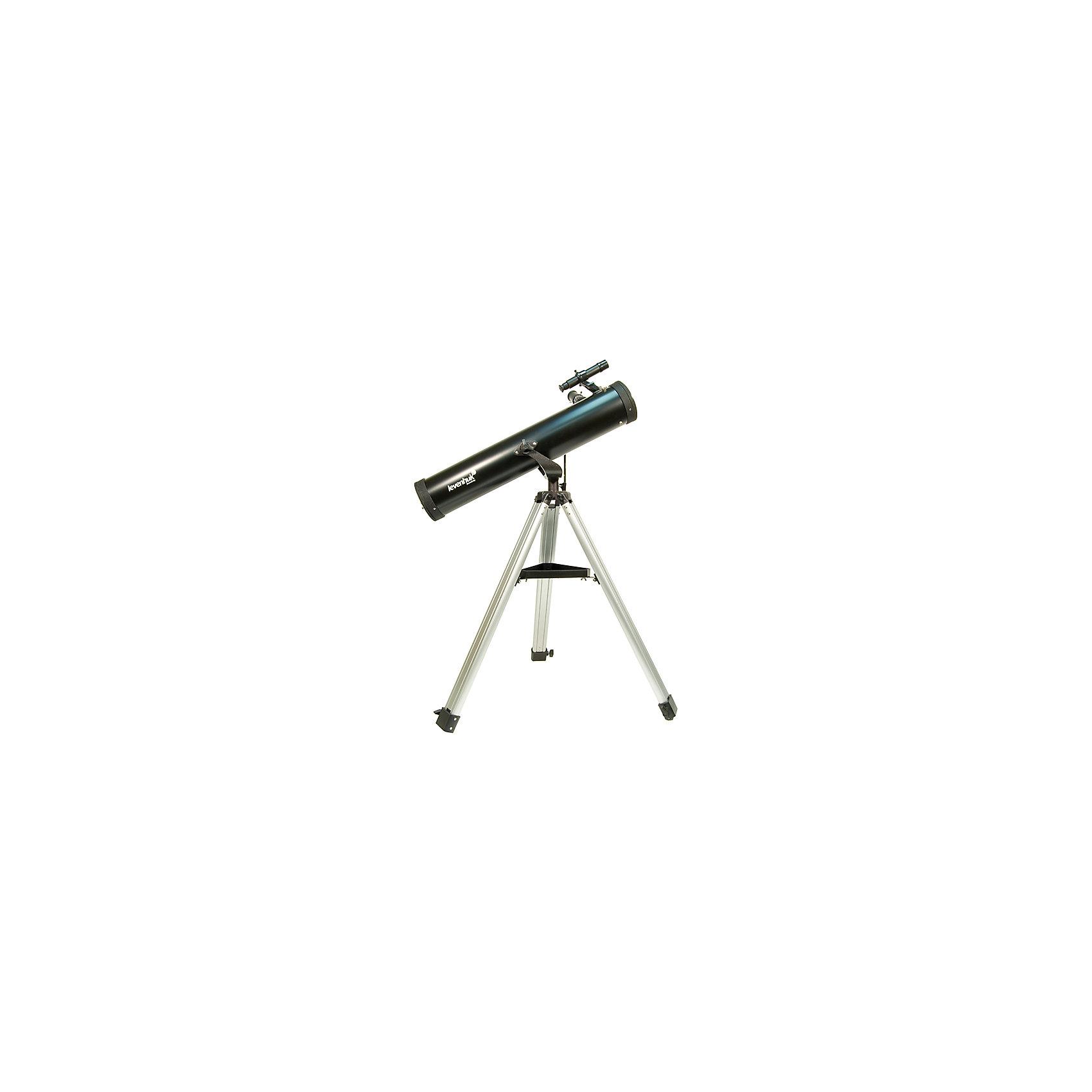 Телескоп Levenhuk Skyline 76x700 AZТелескопы<br>Характеристики товара:<br><br>• материал: металл, пластик<br>• тип телескопа: рефлектор<br>• максимальное полезное увеличение: 152 крат<br>• светосила (относительное отверстие): f/9,2<br>• разрешающая способность, угл. секунд: 1,8<br>• проницающая способность: (звездная величина, приблизительно) 11,4<br>• окуляры в комплекте SUPER 25 мм (28x)<br>• посадочный диаметр окуляров: 1,25 дюймов<br>• линза Барлоу в комплекте 2x<br>• искатель оптический: 6 х 24<br>• фокусер реечный: 1,25<br>• высота треноги регулируемая: 670–1190 мм<br>• тип управления телескопом: ручной<br>• тип монтировки: азимутальная, AZ1<br>• габариты трубы: 125х685 мм<br>• вес трубы: 1,76 кг<br>• страна бренда: США<br>• страна производства: КНР<br><br>Телескоп - это отличный способ заинтересовать ребенка наблюдениями за небесными телами и привить ему интерес к учебе. Эта модель была разработана специально для детей - он позволяет увеличивать предметы из космоса и изучать их. Благодаря легкому и прочному корпусу телескоп удобно брать с собой!<br><br>Оптические приборы от американской компании Levenhuk уже успели зарекомендовать себя как качественная и надежная продукция. Для их производства используются только безопасные и проверенные материалы. Такой прибор способен прослужить долго. Подарите ребенку интересную и полезную вещь!<br><br>Телескоп Levenhuk Skyline 76x700 AZ от известного бренда Levenhuk (Левенгук) можно купить в нашем интернет-магазине.<br><br>Ширина мм: 250<br>Глубина мм: 950<br>Высота мм: 305<br>Вес г: 6000<br>Возраст от месяцев: 60<br>Возраст до месяцев: 2147483647<br>Пол: Унисекс<br>Возраст: Детский<br>SKU: 5435299
