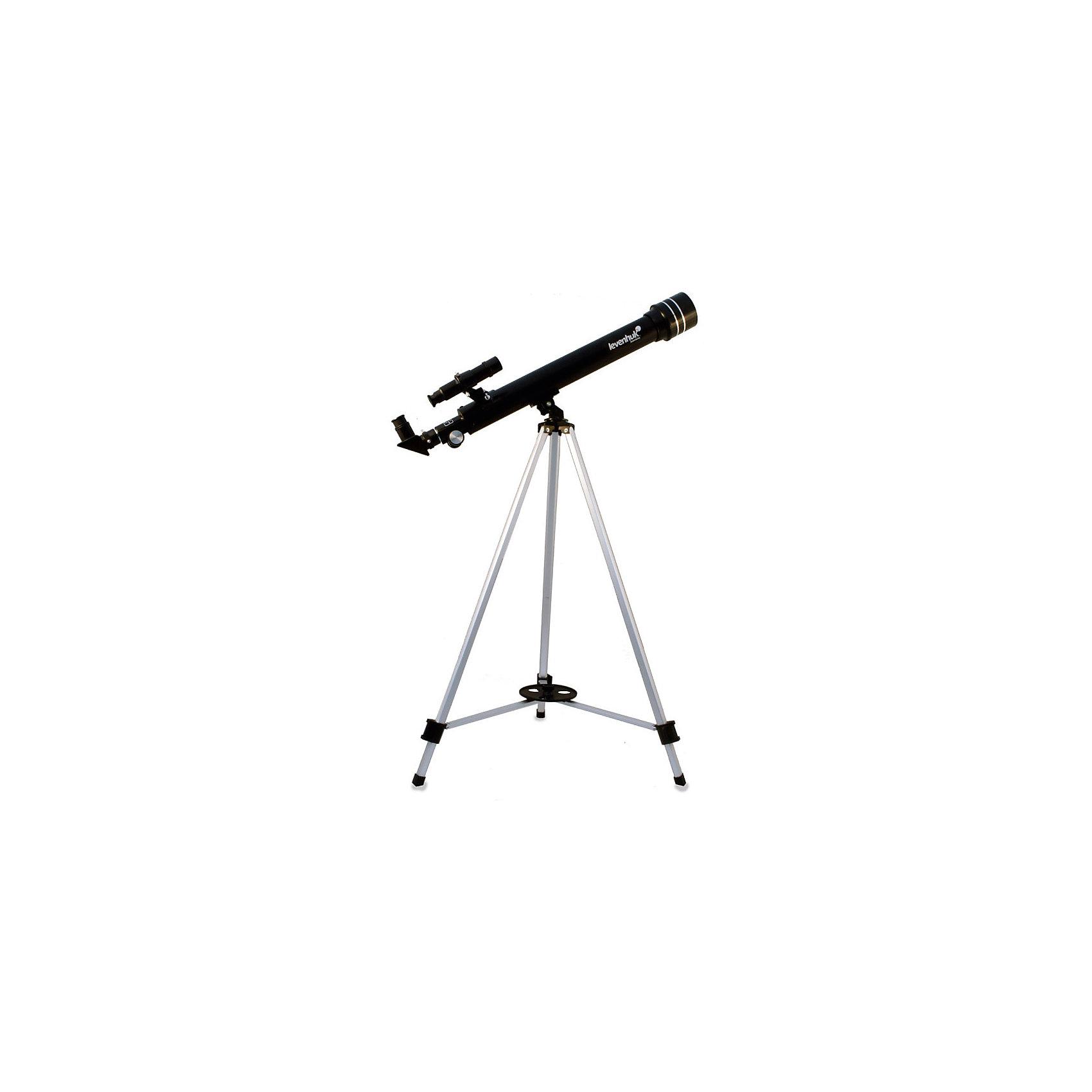 Телескоп Levenhuk Skyline 50x600 AZТелескопы<br>Характеристики товара:<br><br>• материал: металл, пластик<br>• тип телескопа: рефлектор<br>• максимальное полезное увеличение: 100 крат<br>• светосила (относительное отверстие): f/12<br>• проницающая способность: (звездная величина, приблизительно) 11,1<br>• окуляры в комплекте: 20 мм, 12,5 мм, 4 мм, оборачивающий окуляр 1,5x<br>• посадочный диаметр окуляров: 0,96<br>• линза Барлоу в комплекте 3x<br>• искатель оптический: 65х24<br>• высота треноги регулируемая: 690–1190 мм<br>• тип управления телескопом: ручной<br>• тип монтировки: азимутальная<br>• вес: 1,6 кг<br>• страна бренда: США<br>• страна производства: КНР<br><br>Телескоп - это отличный способ заинтересовать ребенка наблюдениями за небесными телами и привить ему интерес к учебе. Эта модель была разработана специально для детей - он позволяет увеличивать предметы из космоса и изучать их. Благодаря легкому и прочному корпусу телескоп удобно брать с собой!<br><br>Оптические приборы от американской компании Levenhuk уже успели зарекомендовать себя как качественная и надежная продукция. Для их производства используются только безопасные и проверенные материалы. Такой прибор способен прослужить долго. Подарите ребенку интересную и полезную вещь!<br><br>Телескоп Levenhuk Skyline 50x600 AZ от известного бренда Levenhuk (Левенгук) можно купить в нашем интернет-магазине.<br><br>Ширина мм: 823<br>Глубина мм: 175<br>Высота мм: 96<br>Вес г: 1600<br>Возраст от месяцев: 60<br>Возраст до месяцев: 2147483647<br>Пол: Унисекс<br>Возраст: Детский<br>SKU: 5435300