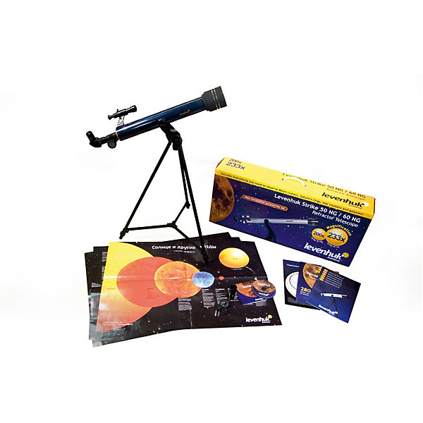 Телескоп Levenhuk Strike 50 NGТелескопы<br>Характеристики товара:<br><br>• материал: металл, пластик<br>• тип телескопа: рефрактор<br>• максимальное полезное увеличение: 200 крат<br>• светосила (относительное отверстие): 12<br>• световой диаметр (Апертура): 50 мм<br>• проницающая способность: (звездная величина, приблизительно) 10,6<br>• посадочный диаметр окуляров: 0.965 (24.5мм), окуляры F20мм, F6мм<br>• линза Барлоу в комплекте 3x<br>• искатель : 3х20 <br>• фокусер реечный: 0,965<br>• высота треноги регулируемая: 630–1080 мм<br>• тип монтировки: азимутальная, AZ<br>• вес: 3,96 кг<br>• комплектация: труба, руководство, тренога, зеркало, книга, постеры, <br>• страна бренда: США<br>• страна производства: КНР<br><br>Телескоп - это отличный способ заинтересовать ребенка наблюдениями за небесными телами и привить ему интерес к учебе. Эта модель была разработана специально для детей - он позволяет увеличивать предметы из космоса и изучать их. Благодаря легкому и прочному корпусу телескоп удобно брать с собой!<br><br>Оптические приборы от американской компании Levenhuk уже успели зарекомендовать себя как качественная и надежная продукция. Для их производства используются только безопасные и проверенные материалы. Такой прибор способен прослужить долго. Подарите ребенку интересную и полезную вещь!<br><br>Телескоп Levenhuk Strike 50 NG от известного бренда Levenhuk (Левенгук) можно купить в нашем интернет-магазине.<br><br>Ширина мм: 700<br>Глубина мм: 300<br>Высота мм: 150<br>Вес г: 4000<br>Возраст от месяцев: 60<br>Возраст до месяцев: 2147483647<br>Пол: Унисекс<br>Возраст: Детский<br>SKU: 5435302
