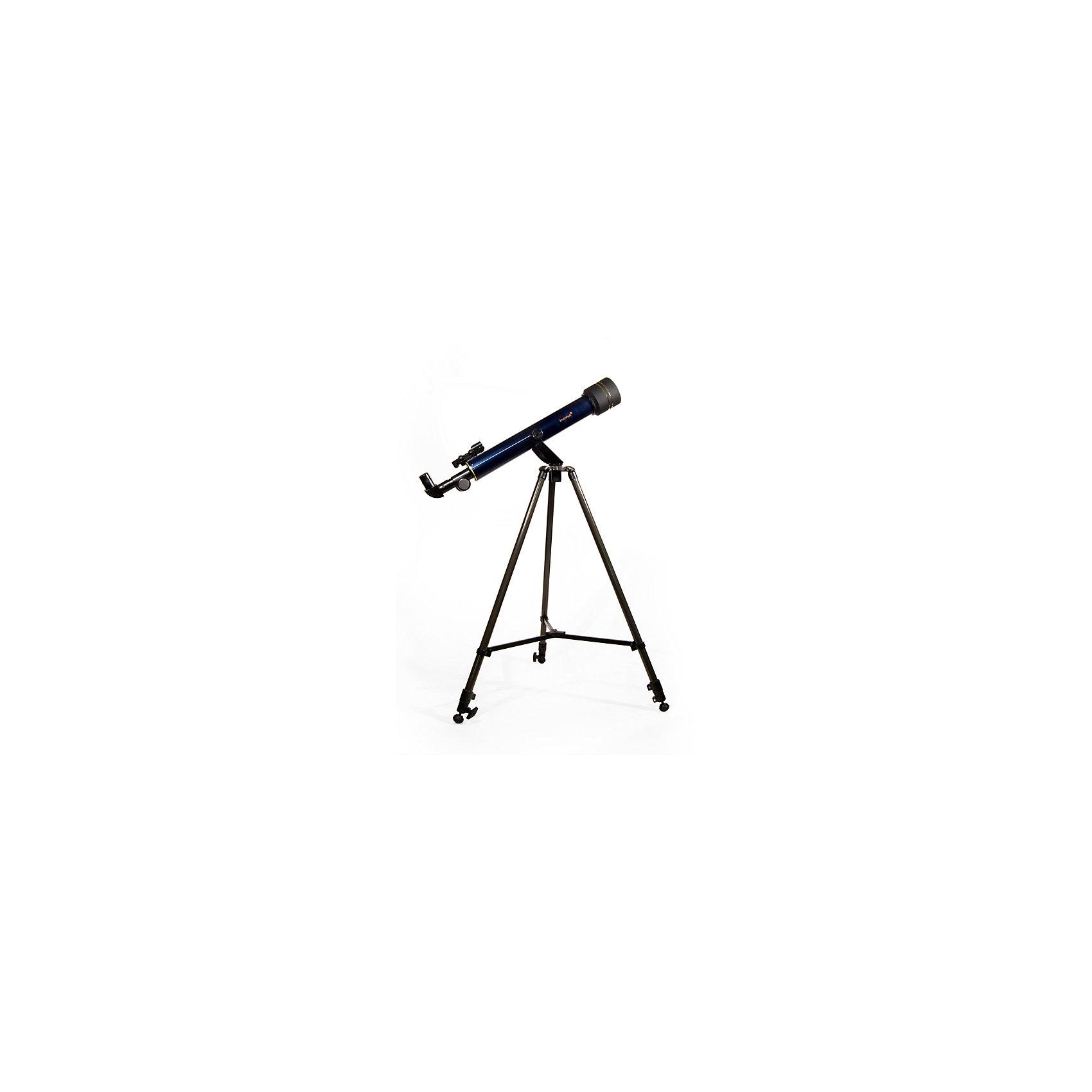 Телескоп Levenhuk Strike 60 NGТелескопы<br>Характеристики товара:<br><br>• материал: металл, пластик<br>• тип телескопа: рефрактор<br>• максимальное полезное увеличение: 233 крат<br>• светосила (относительное отверстие): 11,7<br>• световой диаметр (Апертура): 50 мм<br>• проницающая способность: (звездная величина, приблизительно) 10,2<br>• окуляры F20мм, F6мм<br>• линза Барлоу в комплекте 3x<br>• искатель: 3х20 <br>• высота треноги регулируемая: 630–1080 мм<br>• тип монтировки: азимутальная<br>• вес: 5,5 кг<br>• комплектация: труба, руководство, тренога, зеркало, книга, постеры, компас, линза Барлоу 3х<br>• страна бренда: США<br>• страна производства: КНР<br><br>Телескоп - это отличный способ заинтересовать ребенка наблюдениями за небесными телами и привить ему интерес к учебе. Эта модель была разработана специально для детей - он позволяет увеличивать предметы из космоса и изучать их. Благодаря легкому и прочному корпусу телескоп удобно брать с собой!<br><br>Оптические приборы от американской компании Levenhuk уже успели зарекомендовать себя как качественная и надежная продукция. Для их производства используются только безопасные и проверенные материалы. Такой прибор способен прослужить долго. Подарите ребенку интересную и полезную вещь!<br><br>Телескоп Levenhuk Strike 60 NG от известного бренда Levenhuk (Левенгук) можно купить в нашем интернет-магазине.<br><br>Ширина мм: 810<br>Глубина мм: 360<br>Высота мм: 160<br>Вес г: 5500<br>Возраст от месяцев: 60<br>Возраст до месяцев: 2147483647<br>Пол: Унисекс<br>Возраст: Детский<br>SKU: 5435303