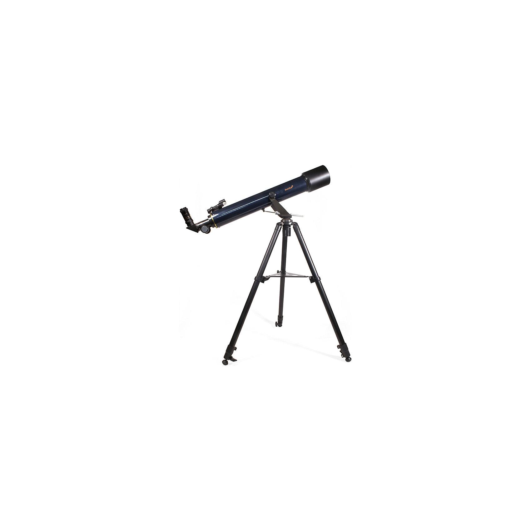 Телескоп Levenhuk Strike 80 NGТелескопы<br>Характеристики товара:<br><br>• материал: металл, пластик<br>• тип телескопа: рефрактор<br>• максимальное полезное увеличение: 360 крат<br>• светосила (относительное отверстие): 9<br>• световой диаметр (Апертура): 80 мм<br>• проницающая способность: (звездная величина, приблизительно) 11Ю5<br>• посадочный диаметр окуляров: 1,25, окуляры F20мм, F6мм<br>• искатель : 3х20 <br>• фокусер реечный: 1.25<br>• высота треноги регулируемая: 630–1080 мм<br>• тип монтировки: азимутальная<br>• комплектация: труба, руководство, тренога, зеркало, книга, постеры, <br>• страна бренда: США<br>• страна производства: КНР<br><br>Телескоп - это отличный способ заинтересовать ребенка наблюдениями за небесными телами и привить ему интерес к учебе. Эта модель была разработана специально для детей - он позволяет увеличивать предметы из космоса и изучать их. Благодаря легкому и прочному корпусу телескоп удобно брать с собой!<br><br>Оптические приборы от американской компании Levenhuk уже успели зарекомендовать себя как качественная и надежная продукция. Для их производства используются только безопасные и проверенные материалы. Такой прибор способен прослужить долго. Подарите ребенку интересную и полезную вещь!<br><br>Телескоп Levenhuk Strike 80 NG от известного бренда Levenhuk (Левенгук) можно купить в нашем интернет-магазине.<br><br>Ширина мм: 860<br>Глубина мм: 360<br>Высота мм: 160<br>Вес г: 7000<br>Возраст от месяцев: 60<br>Возраст до месяцев: 2147483647<br>Пол: Унисекс<br>Возраст: Детский<br>SKU: 5435304