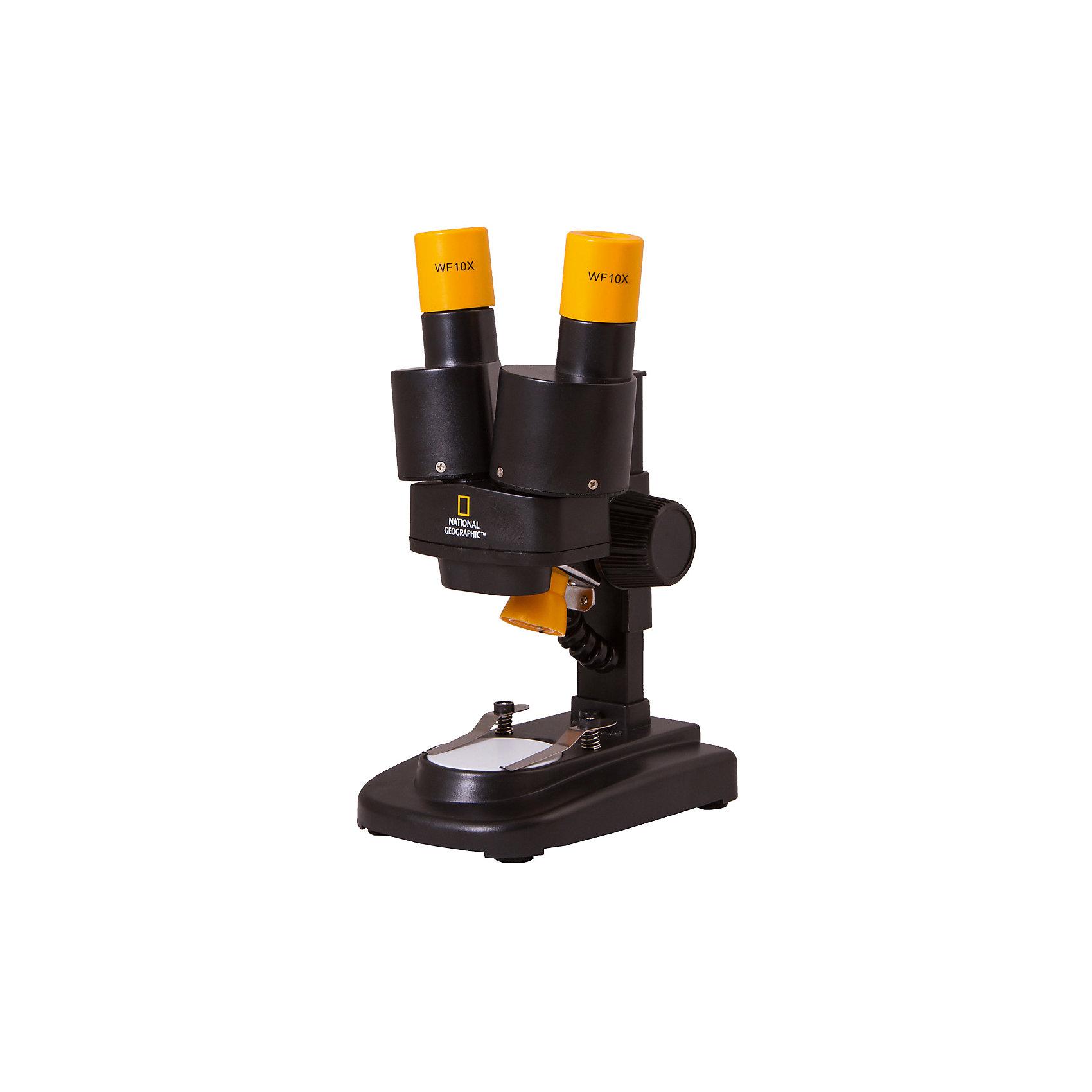 Микроскоп стереоскопический Bresser National Geographic 20xМикроскопы<br>Характеристики товара:<br><br>• материал: металл, пластик<br>• увеличение: до 20 крат<br>• окуляры WF10x (2 шт.)<br>• бинокулярный<br>• подсветка светодиодная<br>• вес: 0,7 кг<br>• размер: 22х13х10 см<br>• комплектация: микроскоп, окуляры, минералы (12 шт)<br>• страна бренда: Германия<br><br>В этом наборе есть всё необходимое, чтобы приступить к опытам немедленно! Собственный микроскоп - это отличный способ заинтересовать ребенка наукой и привить ему интерес к учебе. Эта модель микроскопа была разработана специально для детей - он позволяет увеличивать препарат в 640 крат, с помощью этого дети могут исследовать состав и структуру разнообразных предметов, веществ и организмов. Благодаря стильному дизайну этот микроскоп отлично вписывается в интерьер!<br><br>Оптические приборы от немецкой компании Bresser уже успели зарекомендовать себя как качественная и надежная продукция. Для их производства используются только безопасные и проверенные материалы. Такой прибор способен прослужить долго. Подарите ребенку интересную и полезную вещь!<br><br>Микроскоп стереоскопический Bresser National Geographic 20x от известного бренда Bresser (Брессер) можно купить в нашем интернет-магазине.<br><br>Ширина мм: 260<br>Глубина мм: 165<br>Высота мм: 130<br>Вес г: 720<br>Возраст от месяцев: 60<br>Возраст до месяцев: 2147483647<br>Пол: Унисекс<br>Возраст: Детский<br>SKU: 5435307