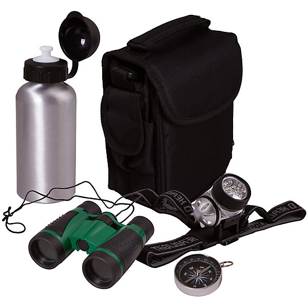 Набор исследователя Bresser Junior с биноклемДругие наборы<br>Характеристики товара:<br><br>• комплектация: бинокль 4x30, светодиодный налобный фонарь, мини-компас, алюминиевая бутылка для воды, нейлоновая сумка, инструкция<br>• бинокль с четырехкратным увеличением и центральной фокусировкой<br>• бутылка для воды на 400 мл<br>• сумка с множеством отделений<br>• компас на шнурке<br>• страна бренда: Германия<br><br>В этом наборе есть всё необходимое, чтобы отправиться в путешествие или исследование! Собственный набор из таких предметов - это отличный способ заинтересовать ребенка туризмом или наукой и привить ему интерес к учебе. Этот комплект был разработана специально для детей - он позволяет не потеряться на природе и иметь при себе всё необходимое. Благодаря стильному дизайну он впечатляюще смотрится!<br><br>Оптические приборы от немецкой компании Bresser уже успели зарекомендовать себя как качественная и надежная продукция. Для их производства используются только безопасные и проверенные материалы. Такой прибор способен прослужить долго. Подарите ребенку интересную и полезную вещь!<br><br>Набор исследователя Bresser Junior с биноклем от известного бренда Bresser (Брессер) можно купить в нашем интернет-магазине.<br>Ширина мм: 215; Глубина мм: 210; Высота мм: 85; Вес г: 610; Возраст от месяцев: 60; Возраст до месяцев: 2147483647; Пол: Унисекс; Возраст: Детский; SKU: 5435318;