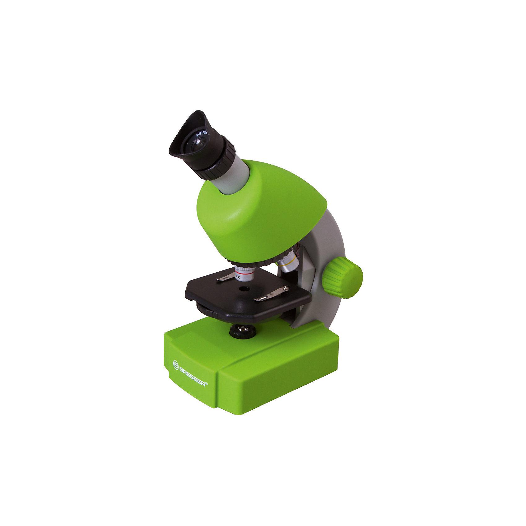 Микроскоп Bresser Junior 40x-640x, зеленыйМикроскопы<br>Характеристики товара:<br><br>• материал: металл, пластик<br>• увеличение: до 640 крат<br>• объективы: 4х, 10х, 40х<br>• подсветка: светодиодная<br>• подсветка работает от батареек 3хАА<br>• вес: 0,556 кг<br>• размер: 22х16х10 см<br>• комплектация: микроскоп, окуляр WF10x–WF16, объективы, набор для опытов, готовые препараты<br>• страна бренда: Германия<br><br>В этом наборе есть всё необходимое, чтобы приступить к опытам немедленно! Собственный микроскоп - это отличный способ заинтересовать ребенка наукой и привить ему интерес к учебе. Эта модель микроскопа была разработана специально для детей - он позволяет увеличивать препарат в 640 крат, с помощью этого дети могут исследовать состав и структуру разнообразных предметов, веществ и организмов. Благодаря стильному дизайну этот микроскоп отлично вписывается в интерьер!<br><br>Оптические приборы от немецкой компании Bresser уже успели зарекомендовать себя как качественная и надежная продукция. Для их производства используются только безопасные и проверенные материалы. Такой прибор способен прослужить долго. Подарите ребенку интересную и полезную вещь!<br><br>Микроскоп Bresser Junior 40x-640x, зеленый, от известного бренда Bresser (Брессер) можно купить в нашем интернет-магазине.<br><br>Ширина мм: 280<br>Глубина мм: 155<br>Высота мм: 170<br>Вес г: 860<br>Возраст от месяцев: 60<br>Возраст до месяцев: 2147483647<br>Пол: Унисекс<br>Возраст: Детский<br>SKU: 5435323