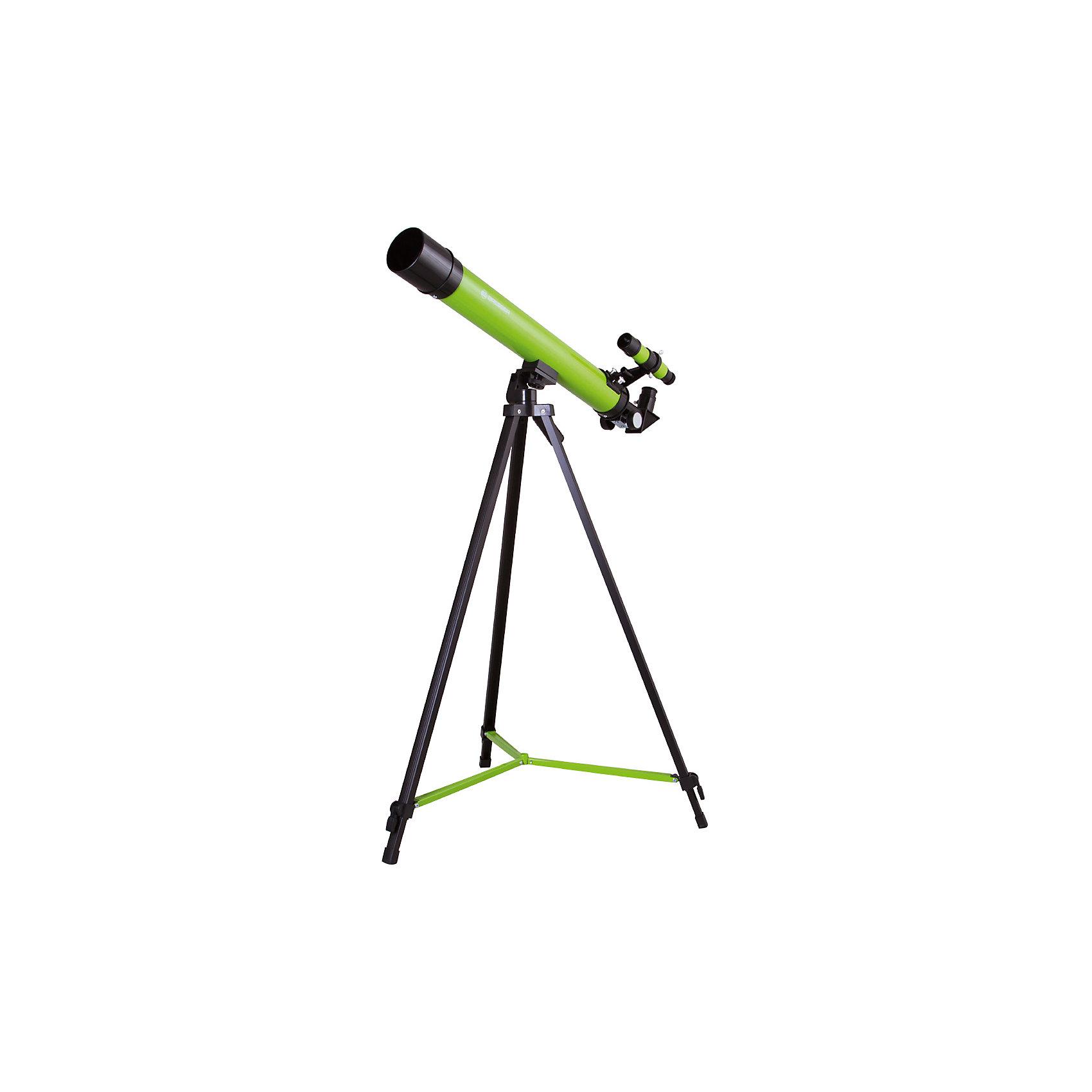 Телескоп Bresser Junior Space Explorer 45/600, зеленыйХарактеристики товара:<br><br>• материал: металл, пластик<br>• увеличение: до 100 крат<br>• диаметр объектива (апертура): 45 мм<br>• окуляры в комплекте: SR-6 мм и SR-12 мм, оборачивающий окуляр 1,5х<br>• искатель оптический: 6х30<br>• регулируемая алюминиевая тренога<br>• тип управления телескопом: ручной<br>• тип монтировки: азимутальная<br>• вес: 1,1 кг<br>• размер упаковки: 23х77х12 см<br>• комплектация: телескоп, окуляры, зеркало, тренога, карта<br>• страна бренда: Германия<br><br>Телескоп - это отличный способ заинтересовать ребенка наблюдениями за небесными телами и привить ему интерес к учебе. Эта модель была разработана специально для детей - он позволяет увеличивать предметы из космоса и изучать их. Благодаря легкому и прочному корпусу телескоп удобно брать с собой!<br><br>Оптические приборы от немецкой компании Bresser уже успели зарекомендовать себя как качественная и надежная продукция. Для их производства используются только безопасные и проверенные материалы. Такой прибор способен прослужить долго. Подарите ребенку интересную и полезную вещь!<br><br>Телескоп Bresser Junior Space Explorer 45/600, зеленый, от известного бренда Bresser (Брессер) можно купить в нашем интернет-магазине.<br><br>Ширина мм: 770<br>Глубина мм: 230<br>Высота мм: 125<br>Вес г: 2210<br>Возраст от месяцев: 60<br>Возраст до месяцев: 2147483647<br>Пол: Унисекс<br>Возраст: Детский<br>SKU: 5435325