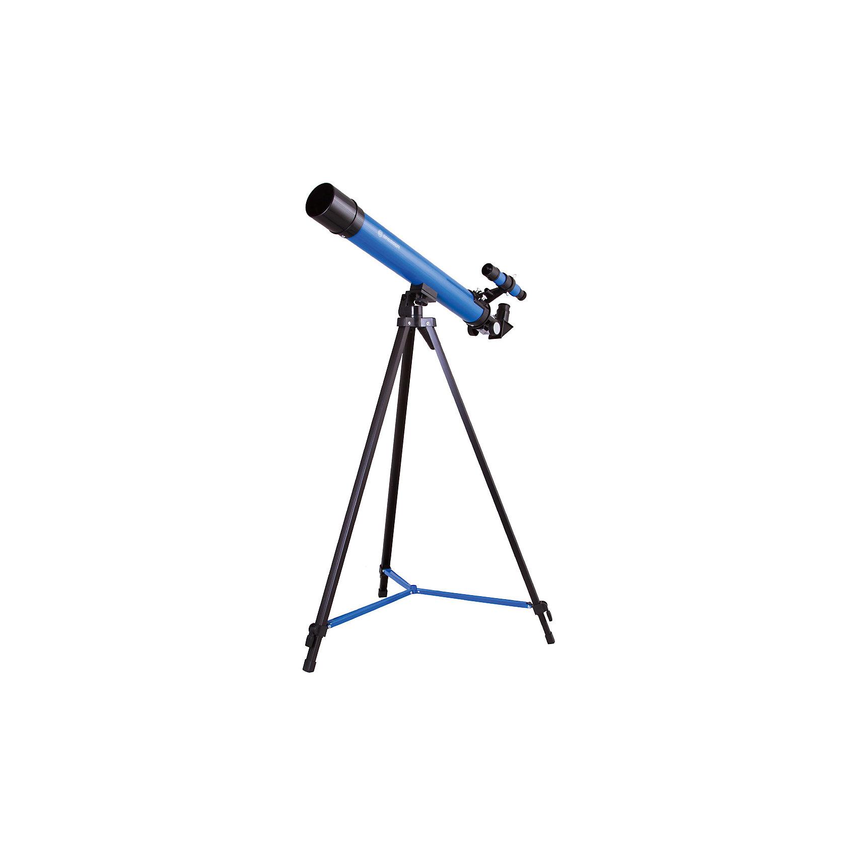 Телескоп Bresser Junior Space Explorer 45/600, синийТелескоп Bresser Junior Space Explorer 45/600 – настоящая находка для юного исследователя. Это небольшой, легкий и простой в управлении оптический прибор, который для начинающего астронома станет отличным первым телескопом. В Bresser Junior Space Explorer 45/600 можно изучать наземные объекты, исследовать лунные ландшафты, рассматривать крупные и яркие объекты Солнечной системы. В комплект уже включены все необходимые аксессуары.<br><br>Ширина мм: 770<br>Глубина мм: 230<br>Высота мм: 125<br>Вес г: 2210<br>Возраст от месяцев: 60<br>Возраст до месяцев: 2147483647<br>Пол: Унисекс<br>Возраст: Детский<br>SKU: 5435326