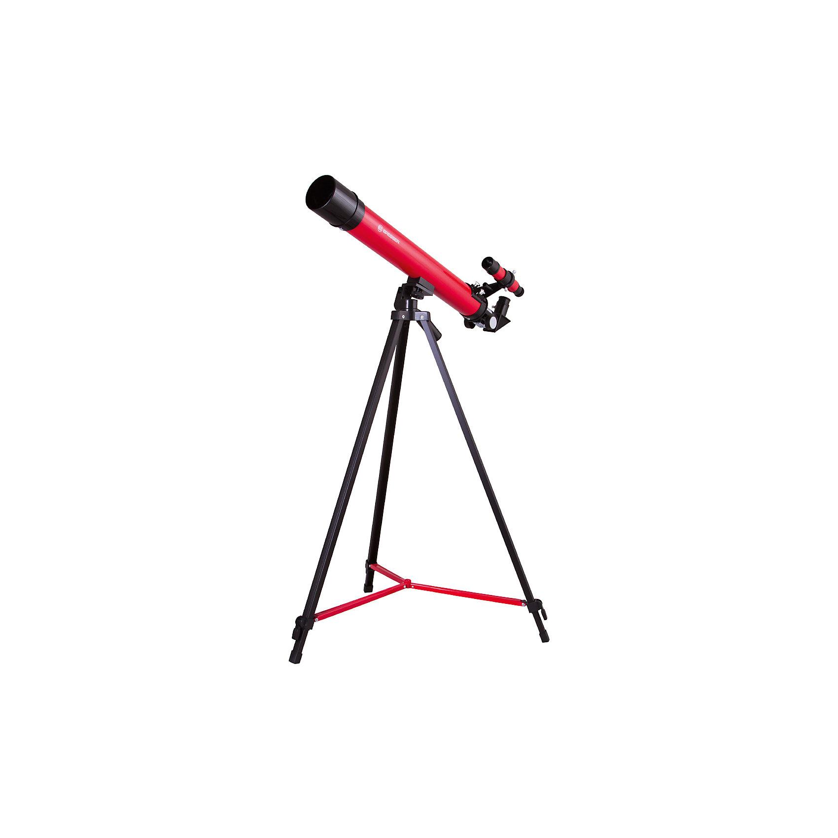 Телескоп Bresser Junior Space Explorer 45/600, красныйТелескопы<br>Характеристики товара:<br><br>• материал: металл, пластик<br>• увеличение: до 100 крат<br>• диаметр объектива (апертура): 45 мм<br>• окуляры в комплекте: SR-6 мм и SR-12 мм, оборачивающий окуляр 1,5х<br>• искатель оптический: 6х30<br>• регулируемая алюминиевая тренога<br>• тип управления телескопом: ручной<br>• тип монтировки: азимутальная<br>• вес: 1,1 кг<br>• размер упаковки: 23х77х12 см<br>• комплектация: телескоп, окуляры, зеркало, тренога, карта<br>• страна бренда: Германия<br><br>Телескоп - это отличный способ заинтересовать ребенка наблюдениями за небесными телами и привить ему интерес к учебе. Эта модель была разработана специально для детей - он позволяет увеличивать предметы из космоса и изучать их. Благодаря легкому и прочному корпусу телескоп удобно брать с собой!<br><br>Оптические приборы от немецкой компании Bresser уже успели зарекомендовать себя как качественная и надежная продукция. Для их производства используются только безопасные и проверенные материалы. Такой прибор способен прослужить долго. Подарите ребенку интересную и полезную вещь!<br><br>Телескоп Bresser Junior Space Explorer 45/600, красный, от известного бренда Bresser (Брессер) можно купить в нашем интернет-магазине.<br><br>Ширина мм: 770<br>Глубина мм: 230<br>Высота мм: 125<br>Вес г: 2210<br>Возраст от месяцев: 60<br>Возраст до месяцев: 2147483647<br>Пол: Унисекс<br>Возраст: Детский<br>SKU: 5435327