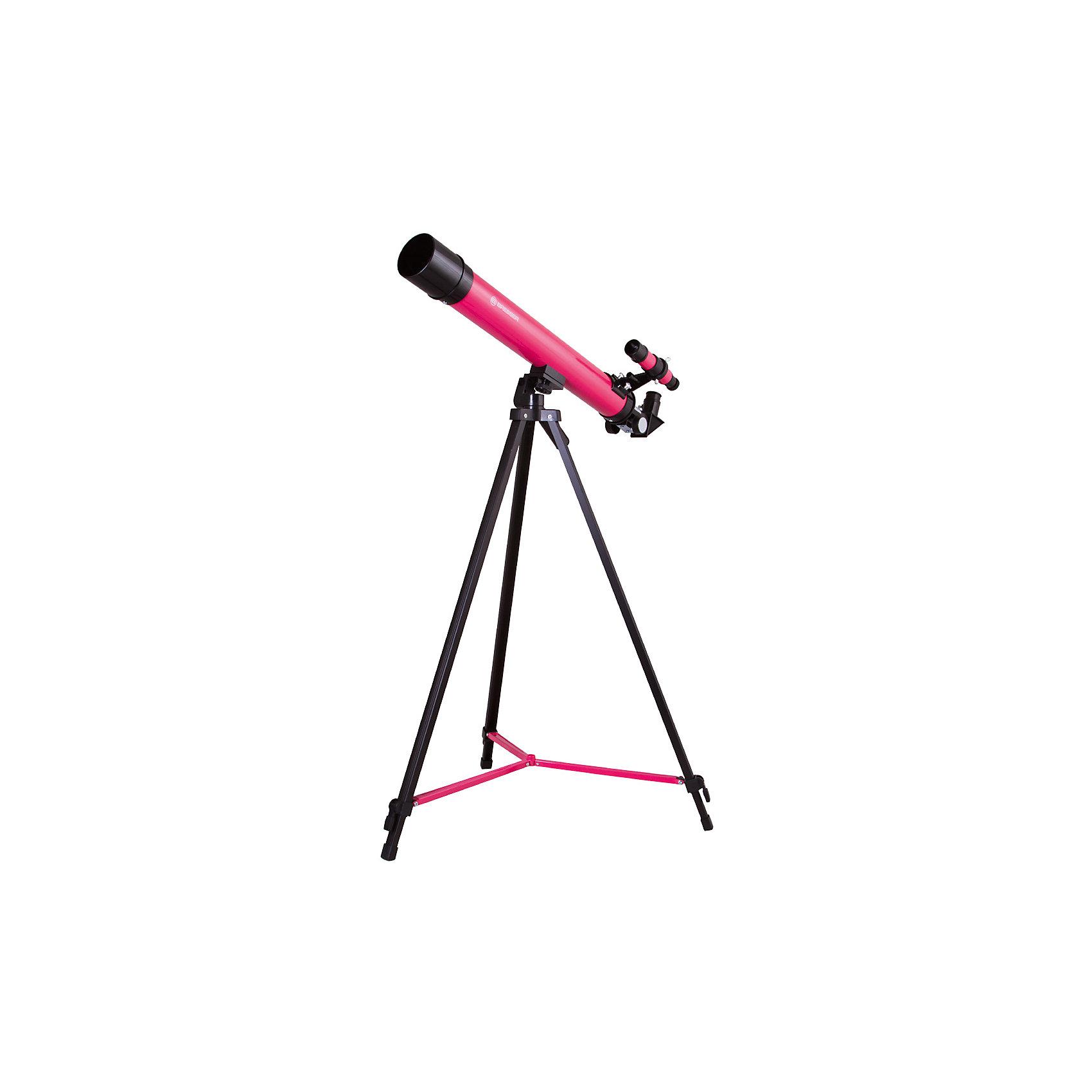 Телескоп Bresser Junior Space Explorer 45/600, розовыйТелескопы<br>Характеристики товара:<br><br>• материал: металл, пластик<br>• увеличение: до 100 крат<br>• диаметр объектива (апертура): 45 мм<br>• окуляры в комплекте: SR-6 мм и SR-12 мм, оборачивающий окуляр 1,5х<br>• искатель оптический: 6х30<br>• регулируемая алюминиевая тренога<br>• тип управления телескопом: ручной<br>• тип монтировки: азимутальная<br>• вес: 1,1 кг<br>• размер упаковки: 23х77х12 см<br>• комплектация: телескоп, окуляры, зеркало, тренога, карта<br>• страна бренда: Германия<br><br>Телескоп - это отличный способ заинтересовать ребенка наблюдениями за небесными телами и привить ему интерес к учебе. Эта модель была разработана специально для детей - он позволяет увеличивать предметы из космоса и изучать их. Благодаря легкому и прочному корпусу телескоп удобно брать с собой!<br><br>Оптические приборы от немецкой компании Bresser уже успели зарекомендовать себя как качественная и надежная продукция. Для их производства используются только безопасные и проверенные материалы. Такой прибор способен прослужить долго. Подарите ребенку интересную и полезную вещь!<br><br>Телескоп Bresser Junior Space Explorer 45/600, розовый, от известного бренда Bresser (Брессер) можно купить в нашем интернет-магазине.<br><br>Ширина мм: 770<br>Глубина мм: 230<br>Высота мм: 125<br>Вес г: 2210<br>Возраст от месяцев: 60<br>Возраст до месяцев: 2147483647<br>Пол: Унисекс<br>Возраст: Детский<br>SKU: 5435328
