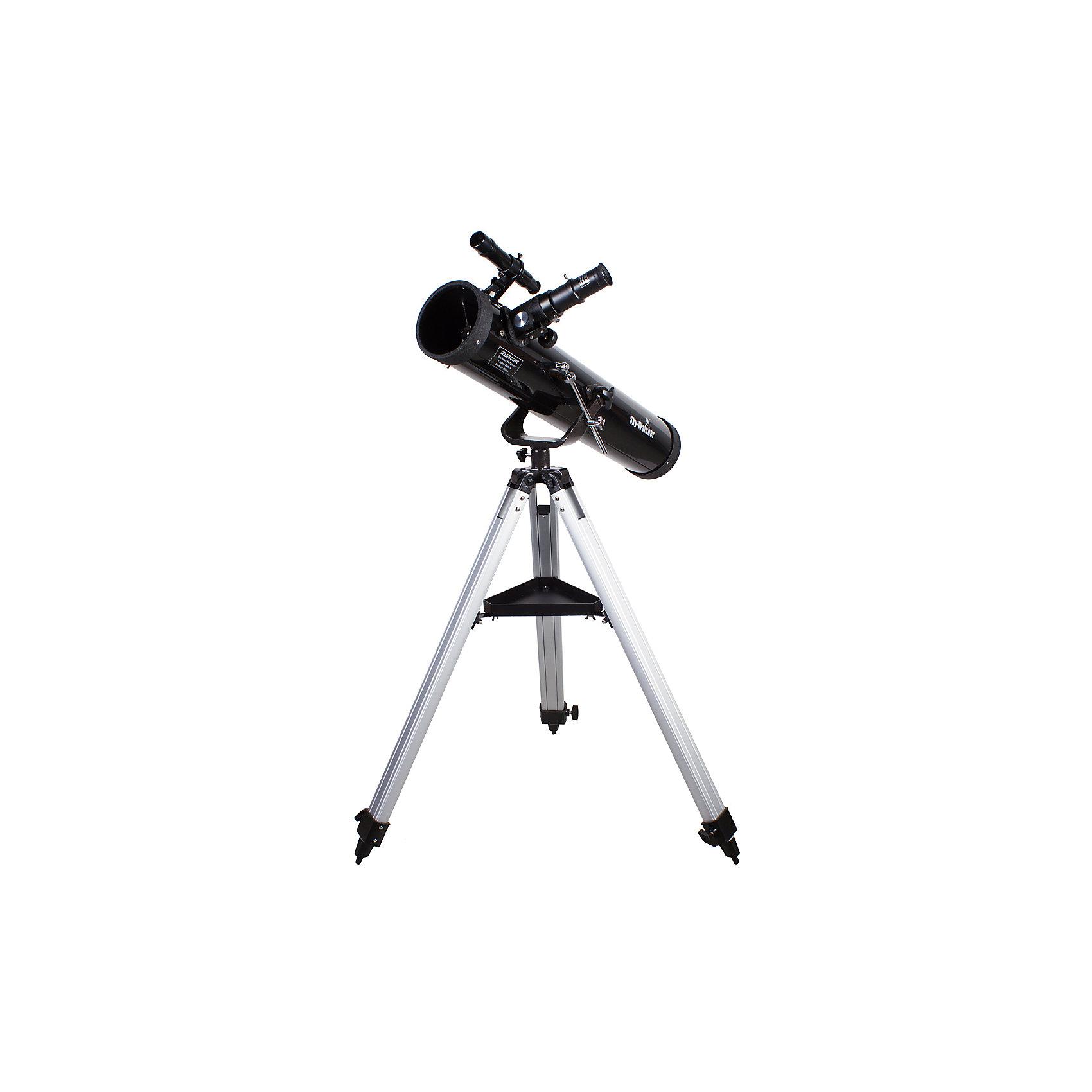 Телескоп Sky-Watcher BK 767AZ1Телескопы<br>Характеристики товара:<br><br>• материал: металл, пластик<br>• тип телескопа: рефлектор<br>• максимальное полезное увеличение: 152 крат<br>• светосила (относительное отверстие): f/9,2<br>• окуляры в комплекте Super 25 мм, Super 10 мм<br>• посадочный диаметр окуляров: 1,25 дюймов<br>• искатель: оптический, 6x24<br>• тип управления телескопом: ручной<br>• фокусное расстояние: 700 мм<br>• тип монтировки: азимутальная<br>• габариты в упаковке: 100х26х32 см<br>• вес в упаковке: 6 кг<br>• страна бренда: КНР<br>• страна производства: КНР<br><br>Телескоп - это отличный способ заинтересовать ребенка наблюдениями за небесными телами и привить ему интерес к учебе. Эта модель была разработана специально для детей - он позволяет увеличивать предметы из космоса и изучать их. Благодаря легкому и прочному корпусу телескоп удобно брать с собой!<br><br>Оптические приборы от компании Sky-Watcher уже успели зарекомендовать себя как качественная и надежная продукция. Для их производства используются только безопасные и проверенные материалы. Такой прибор способен прослужить долго. Подарите ребенку интересную и полезную вещь!<br><br>Телескоп Sky-Watcher BK 767AZ1, можно купить в нашем интернет-магазине.<br><br>Ширина мм: 1000<br>Глубина мм: 260<br>Высота мм: 320<br>Вес г: 6750<br>Возраст от месяцев: 60<br>Возраст до месяцев: 2147483647<br>Пол: Унисекс<br>Возраст: Детский<br>SKU: 5435329