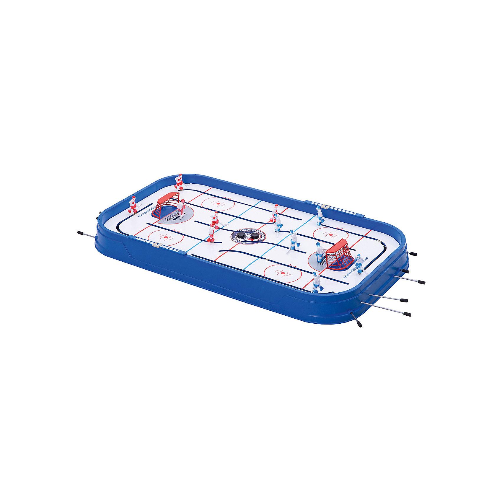 Настольная детская игра Хоккей, Степ ПазлИгры для развлечений<br>Настольная детская игра Хоккей, Степ Пазл.<br><br>Характеристики:<br><br>• В набор входит: игровое поле, 12 игроков, 2 табло, 2 ворот, 2 шайбы, запасные детали, инструкция и правила игры<br>• Количество игроков: от 2х до 4х<br>• Время 1 партии: 20-25 мин.<br>• Размер упаковки: 98 * 9 * 53 см.<br>• Состав: пластик, металл<br>• Вес: 3700 гр.<br>• Для детей в возрасте: от 5 до 12 лет<br>• Страна производитель: Россия<br><br>Настольный хоккей - игра для детей и взрослых, которая позволит увлекательно провести время в семье и с друзьями. Две команды объемных хоккеистов в форме разных цветов. Табло счета. Левый нападающий, заезжающий за ворота противника, придает игре больше динамичности и реализма. Играйте в настольный хоккей, устраивайте турниры и почувствуйте себя настоящими хоккеистами. <br><br>Настольную детскую игру Хоккей, Степ Пазл, можно купить в нашем интернет – магазине.<br><br>Ширина мм: 980<br>Глубина мм: 470<br>Высота мм: 530<br>Вес г: 18500<br>Возраст от месяцев: 60<br>Возраст до месяцев: 2147483647<br>Пол: Мужской<br>Возраст: Детский<br>SKU: 5435625