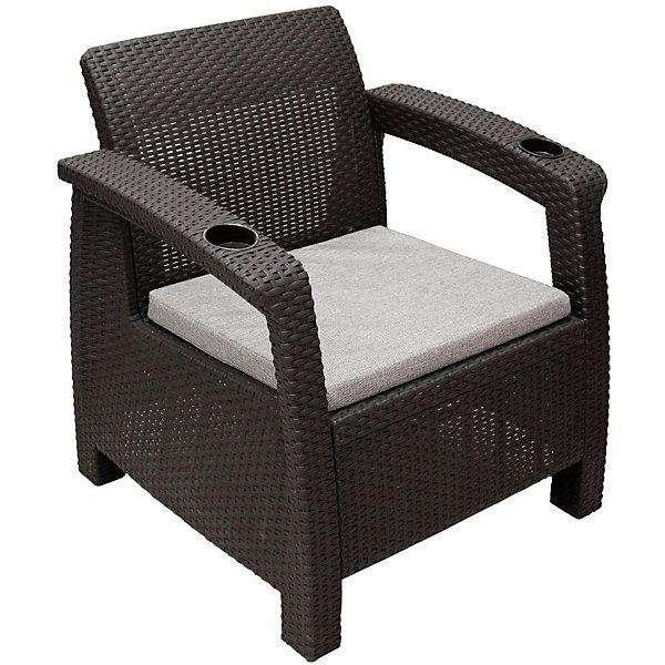 Кресло Ротанг с подушкой, Alternativa, коричневыйДетские столы и стулья<br>Кресло Ротанг 730х700х790 с подуш., Alternativa (Альтернатива), коричневый<br><br>Характеристики:<br><br>• привлекательный дизайн<br>• прочные материалы<br>• мягкая подушка<br>• два подстаканника<br>• цвет: коричневый<br>• материал: пластик<br>• размер: 73х70х79 см<br>• вес: 6,8 кг<br><br>Расположившись в кресле Ротанг вы сможете отдохнуть с комфортом. Кресло изготовлено из искусственного ротанга - пластика с высокой износостойкостью. Широкие ножки обеспечивают изделию хорошую устойчивость на любых поверхностях. На подлокотниках расположены два подстаканника для ваших любимых напитков. На сидении есть мягкая подушка, которая обеспечит вам дополнительный уют и комфорт в течение всего отдыха.<br><br>Кресло Ротанг 730х700х790 с подуш., Alternativa (Альтернатива), коричневый вы можете купить в нашем интернет-магазине.<br>Ширина мм: 730; Глубина мм: 700; Высота мм: 790; Вес г: 7500; Возраст от месяцев: 12; Возраст до месяцев: 1188; Пол: Унисекс; Возраст: Детский; SKU: 5436204;