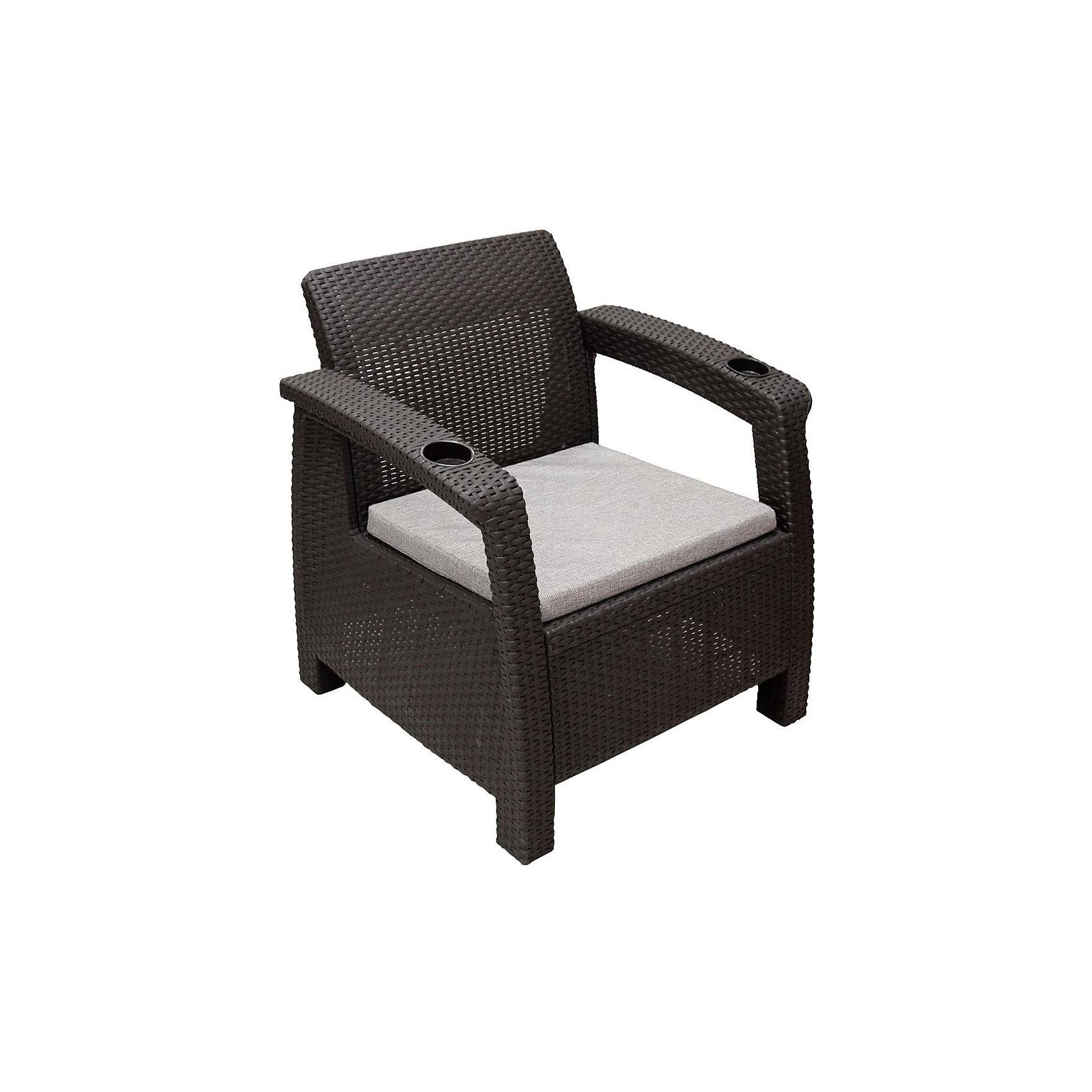 Кресло Ротанг с подушкой, Alternativa, коричневыйДетские столы и стулья<br>Кресло Ротанг 730х700х790 с подуш., Alternativa (Альтернатива), коричневый<br><br>Характеристики:<br><br>• привлекательный дизайн<br>• прочные материалы<br>• мягкая подушка<br>• два подстаканника<br>• цвет: коричневый<br>• материал: пластик<br>• размер: 73х70х79 см<br>• вес: 6,8 кг<br><br>Расположившись в кресле Ротанг вы сможете отдохнуть с комфортом. Кресло изготовлено из искусственного ротанга - пластика с высокой износостойкостью. Широкие ножки обеспечивают изделию хорошую устойчивость на любых поверхностях. На подлокотниках расположены два подстаканника для ваших любимых напитков. На сидении есть мягкая подушка, которая обеспечит вам дополнительный уют и комфорт в течение всего отдыха.<br><br>Кресло Ротанг 730х700х790 с подуш., Alternativa (Альтернатива), коричневый вы можете купить в нашем интернет-магазине.<br><br>Ширина мм: 730<br>Глубина мм: 700<br>Высота мм: 790<br>Вес г: 7500<br>Возраст от месяцев: 12<br>Возраст до месяцев: 1188<br>Пол: Унисекс<br>Возраст: Детский<br>SKU: 5436204
