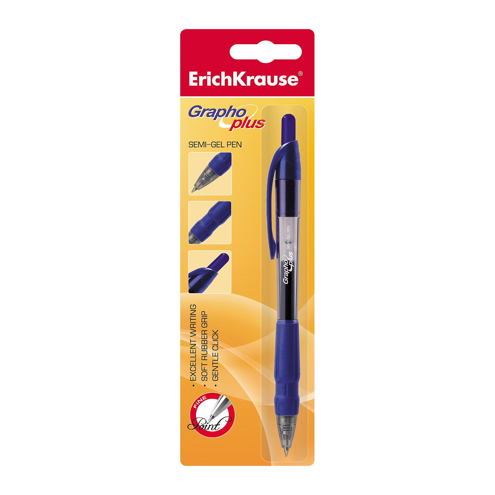 Ручка шариковая автоматическая GRAPHO PLUS, Erich KrauseПисьменные принадлежности<br>Ручка шариковая автоматическая GRAPHO PLUS, Erich Krause (Эрих Краузе). <br><br>Характеристика: <br><br>• Материал: пластик.<br>• Толщина линии: 0.3±0.02 мм.<br>• Длина стержня: 11,7 см.<br>• Пишущий узел: 0,5 мм.<br>• Цвет чернил: синий.<br>• Чернила на масляной основе. <br>• Сменный стержень.<br>• Удобная резиновая накладка. <br>• Прозрачный корпус позволяет контролировать уровень расхода чернил. <br><br>Автоматическая шариковая ручка «Grapho Plus» имеет удобную резиновую накладку и полупрозрачный стержень. Особый состав чернил обеспечивает тонкость линий и высокое качество письма.<br><br>Ручку шариковую автоматическую GRAPHO PLUS, Erich Krause (Эрих Краузе), можно купить в нашем интернет-магазине.<br><br>Ширина мм: 60<br>Глубина мм: 210<br>Высота мм: 15<br>Вес г: 20<br>Возраст от месяцев: 84<br>Возраст до месяцев: 2147483647<br>Пол: Унисекс<br>Возраст: Детский<br>SKU: 5436319