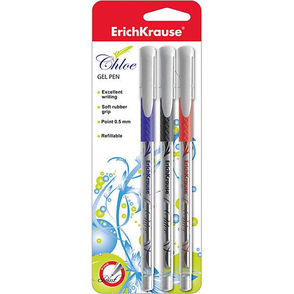 Ручка гелевая CHLOE (набор из 3 шт.), Erich KrauseПисьменные принадлежности<br>Ручка гелевая CHLOE (набор из 3 шт.), Erich Krause (Эрих Краузе).<br><br>Характеристика: <br><br>• Материал: пластик.<br>• Толщина линии: 0,4±0,02 мм.<br>• Длина ручки: 14,5 см.<br>• Пишущий узел: 0,5 мм.<br>• Цвет: красный, черный, синий. <br>• Резиновая накладка на корпусе. <br>• 3 ручки в комплекте. <br>• Сменный стержень.<br><br>Гелевые ручки CHLOE гарантируют мягкое и удобное письмо на любой поверхности. Резиновая вставка на корпусе обеспечивает правильное положение пальцев и препятствует их соскальзыванию. Пишущий узел 0.5 мм и уникальная технология Ultra Glide обеспечивают мягкое аккуратное письмо.<br><br>Ручку гелевую CHLOE (набор из 3 шт.), Erich Krause (Эрих Краузе), можно купить в нашем интернет-магазине.<br><br>Ширина мм: 70<br>Глубина мм: 210<br>Высота мм: 12<br>Вес г: 40<br>Возраст от месяцев: 84<br>Возраст до месяцев: 2147483647<br>Пол: Унисекс<br>Возраст: Детский<br>SKU: 5436325