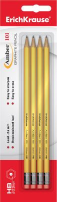 Набор из 4-х чернографитных карандашей с ластиком AMBER 101 (HB), Erich Krause