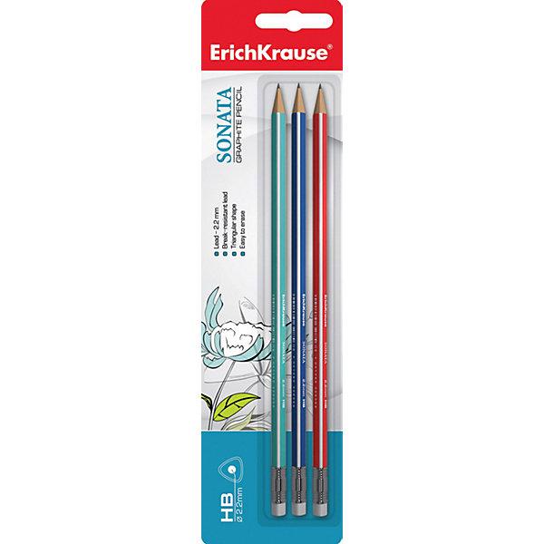 Набор из 3-х чернографитных карандашей с ластиком SONATA (HB), Erich KrauseПисьменные принадлежности<br>Набор из 3-х чернографитных карандашей с ластиком SONATA (HB), Erich Krause (Эрих Краузе). <br><br>Характеристика: <br><br>• Материал: дерево.<br>• Мягкость: HB.<br>• Длина карандаша: 17 см. <br>• Форма корпуса: треугольная<br>• Ластик.<br>• Прочный грифель, устойчивый к падениям. <br>• Хорошо затачиваются. <br>• 3 карандаша в наборе. <br>• Цвет корпуса: синий, зеленый, красный. <br><br>Трехгранные карандаши SONATA обеспечивают правильный захват и постановку пальцев, выполнены из натуральной древесины. Карандаши легко и быстро затачиваются, имеют прочный грифель, который не ломается во время падений и не крошится при заточке. <br><br>Набор из 3-х чернографитных карандашей с ластиком SONATA (HB), Erich Krause (Эрих Краузе), можно купить в нашем интернет-магазине.<br>Ширина мм: 65; Глубина мм: 200; Высота мм: 8; Вес г: 30; Возраст от месяцев: 84; Возраст до месяцев: 2147483647; Пол: Унисекс; Возраст: Детский; SKU: 5436332;