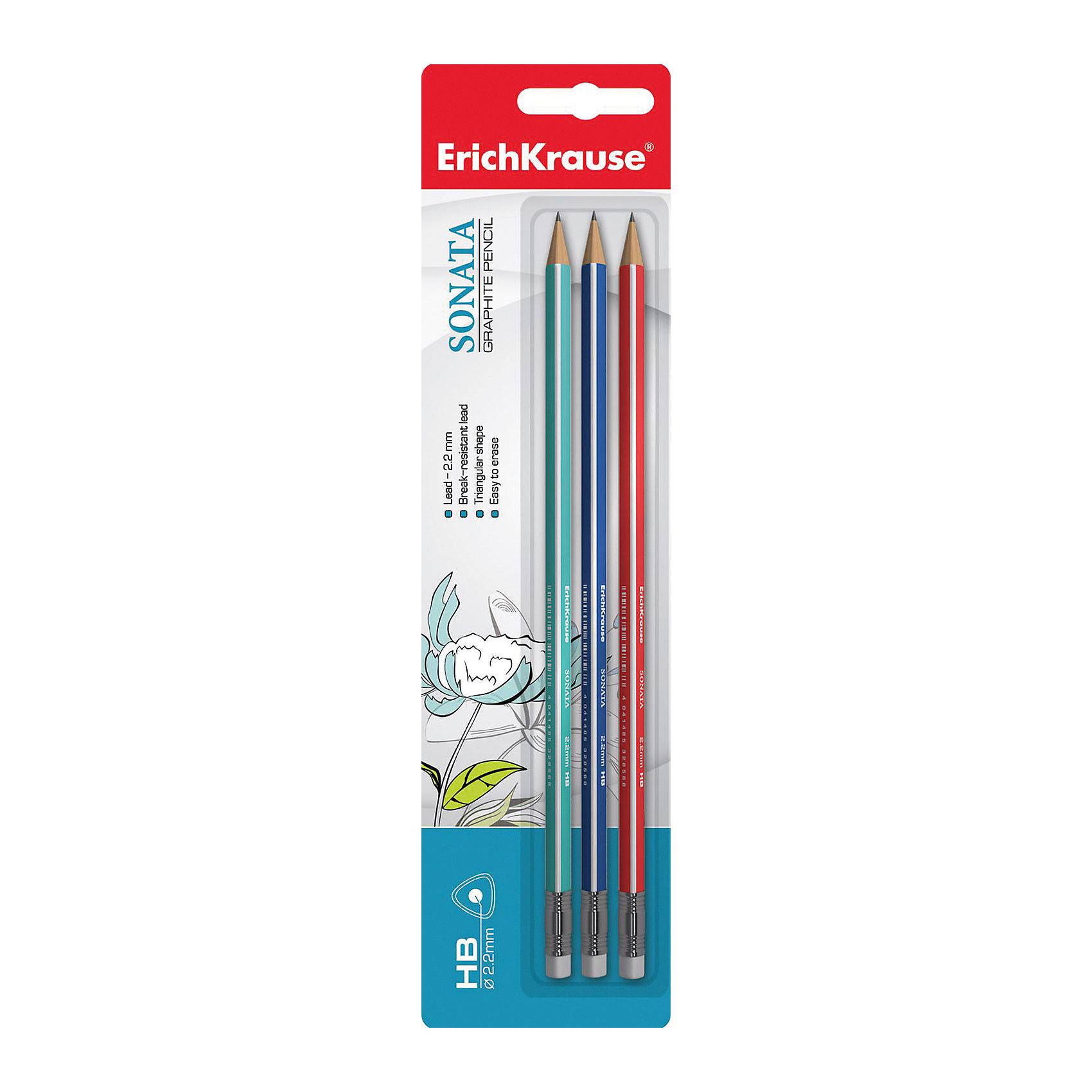 Набор из 3-х чернографитных карандашей с ластиком SONATA (HB), Erich KrauseНабор из 3-х чернографитных карандашей с ластиком SONATA (HB), Erich Krause (Эрих Краузе). <br><br>Характеристика: <br><br>• Материал: дерево.<br>• Мягкость: HB.<br>• Длина карандаша: 17 см. <br>• Форма корпуса: треугольная<br>• Ластик.<br>• Прочный грифель, устойчивый к падениям. <br>• Хорошо затачиваются. <br>• 3 карандаша в наборе. <br>• Цвет корпуса: синий, зеленый, красный. <br><br>Трехгранные карандаши SONATA обеспечивают правильный захват и постановку пальцев, выполнены из натуральной древесины. Карандаши легко и быстро затачиваются, имеют прочный грифель, который не ломается во время падений и не крошится при заточке. <br><br>Набор из 3-х чернографитных карандашей с ластиком SONATA (HB), Erich Krause (Эрих Краузе), можно купить в нашем интернет-магазине.<br><br>Ширина мм: 65<br>Глубина мм: 200<br>Высота мм: 8<br>Вес г: 30<br>Возраст от месяцев: 84<br>Возраст до месяцев: 2147483647<br>Пол: Унисекс<br>Возраст: Детский<br>SKU: 5436332