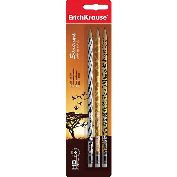Набор из 3-х чернографитных карандашей с ластиком SAVANNA (HB), Erich KrauseПисьменные принадлежности<br>Набор из 3-х чернографитных карандашей с ластиком SAVANNA (HB), Erich Krause (Эрих Краузе).<br><br>Характеристика: <br><br>• Материал: дерево.<br>• Мягкость: HB.<br>• Длина карандаша: 17 см. <br>• Форма корпуса: круглая. <br>• Ластик.<br>• Прочный грифель, устойчивый к падениям. <br>• Хорошо затачиваются. <br>• 3 карандаша в наборе. <br>• Дизайн корпуса: гепард, зебра, жираф.<br><br>Круглые карандаши SAVANNA легко и быстро затачиваются, имеют прочный грифель, который не ломается во время падений и не крошится при заточке. Карандаши выполнены из натуральной древесины, имеют оригинальный дизайн корпуса, который обязательно понравится детям.<br><br>Набор из 3-х чернографитных карандашей с ластиком SAVANNA (HB), Erich Krause (Эрих Краузе), можно купить в нашем интернет-магазине.<br><br>Ширина мм: 65<br>Глубина мм: 200<br>Высота мм: 8<br>Вес г: 30<br>Возраст от месяцев: 84<br>Возраст до месяцев: 2147483647<br>Пол: Унисекс<br>Возраст: Детский<br>SKU: 5436334