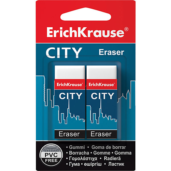 Набор из  2-х ластиков CITY (NEW), Erich KrauseЧертежные принадлежности<br>Набор из 2-х ластиков CITY (NEW), Erich Krause (Эрих Краузе).<br><br>Характеристика: <br><br>• Материал: каучук.<br>• Размер ластика: 5 х 2 х 1 см. <br>• Стружка от ластика скатывается в один комок, а не рассыпается по всей поверхности листа. <br>• 2 ластика в наборе.<br>• Ластики упакованы в защитный картонный футляр. <br><br>Ластик CITY отлично убирает карандашные линии, не рвет бумагу, упакован в защитный картонный футляр. Стружка от ластика скатывается в один комок, а не рассыпается по всей поверхности листа.<br><br>Набор из 2-х ластиков CITY (NEW), Erich Krause (Эрих Краузе), можно купить в нашем интернет-магазине.<br>Ширина мм: 70; Глубина мм: 115; Высота мм: 15; Вес г: 50; Возраст от месяцев: 84; Возраст до месяцев: 2147483647; Пол: Унисекс; Возраст: Детский; SKU: 5436336;