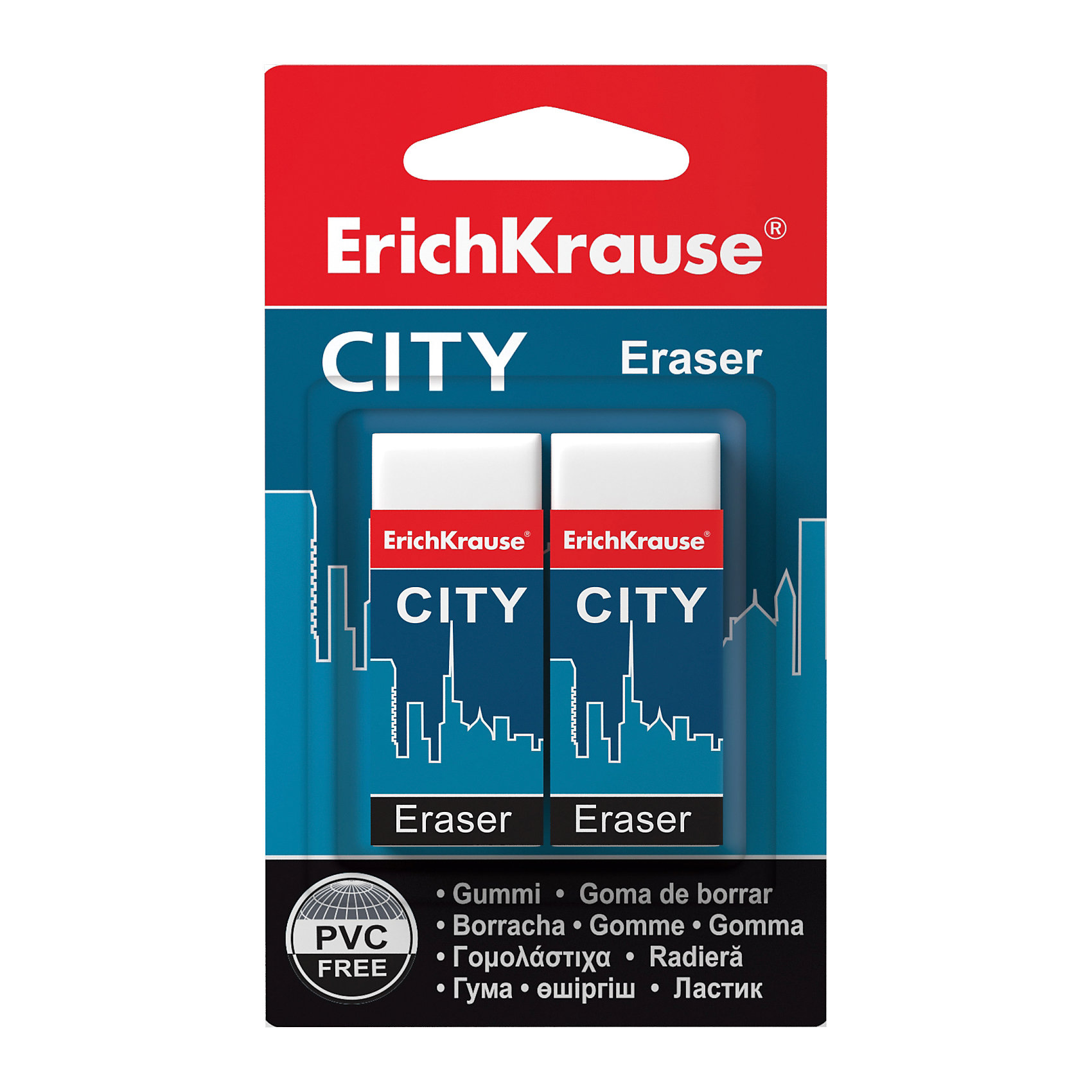 Набор из  2-х ластиков CITY (NEW), Erich KrauseЧертежные принадлежности<br>Набор из 2-х ластиков CITY (NEW), Erich Krause (Эрих Краузе).<br><br>Характеристика: <br><br>• Материал: каучук.<br>• Размер ластика: 5 х 2 х 1 см. <br>• Стружка от ластика скатывается в один комок, а не рассыпается по всей поверхности листа. <br>• 2 ластика в наборе.<br>• Ластики упакованы в защитный картонный футляр. <br><br>Ластик CITY отлично убирает карандашные линии, не рвет бумагу, упакован в защитный картонный футляр. Стружка от ластика скатывается в один комок, а не рассыпается по всей поверхности листа.<br><br>Набор из 2-х ластиков CITY (NEW), Erich Krause (Эрих Краузе), можно купить в нашем интернет-магазине.<br><br>Ширина мм: 70<br>Глубина мм: 115<br>Высота мм: 15<br>Вес г: 50<br>Возраст от месяцев: 84<br>Возраст до месяцев: 2147483647<br>Пол: Унисекс<br>Возраст: Детский<br>SKU: 5436336