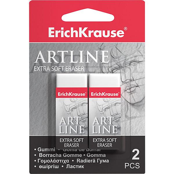Набор из 2-х ластиков  ART LINE Extra Soft, Erich KrauseЧертежные принадлежности<br>Набор из 2-х ластиков ART LINE Extra Soft, Erich Krause (Эрих Краузе).<br><br>Характеристика: <br><br>• Материал: каучук.<br>• Размер упаковки: 9 x 2 х 5 см. <br>• Стружка от ластика скатывается в один комок, а не рассыпается по всей поверхности листа. <br>• 2 ластика в наборе.<br>• Ластики упакованы в защитный картонный футляр. <br>• Отлично стирают линии от карандашей нормальной и высокой мягкости (HB-4B).<br><br>Ластик особой мягкости ART LINE отлично убирает карандашные линии, не рвет бумагу, упакован в защитный картонный футляр.<br><br>Набор из 2-х ластиков ART LINE Extra Soft, Erich Krause (Эрих Краузе), можно купить в нашем интернет-магазине.<br>Ширина мм: 70; Глубина мм: 120; Высота мм: 12; Вес г: 50; Возраст от месяцев: 84; Возраст до месяцев: 2147483647; Пол: Унисекс; Возраст: Детский; SKU: 5436337;