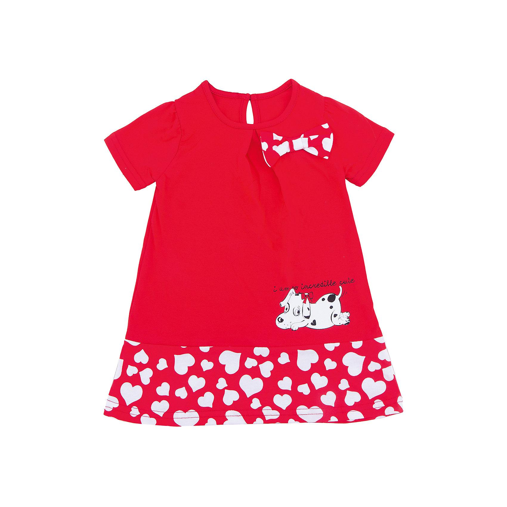 Платье для девочки АпрельПлатья и сарафаны<br>Характеристики товара:<br><br>• цвет: красный<br>• состав: 70% хлопок, 30% полиэстер<br>• короткие рукава<br>• округлый горловой вырез<br>• декорировано принтом<br>• бант<br>• застежка: пуговица<br>• комфортная посадка<br>• страна производитель: Российская Федерация<br>• страна бренда: Российская Федерация<br><br>Это симпатичное платье - удобная и универсальная вещь, которая поможет разнообразить гардероб ребенка. Она комфортно ощущается на теле, хорошо садится по детской фигуре. Изделие отлично сочетается с различной обувью. Материал преимущественно состоит из хлопка, который не вызывает аллергии и позволяет коже дышать.<br><br>Платье для девочки от известного бренда Апрель можно купить в нашем интернет-магазине.<br><br>Ширина мм: 236<br>Глубина мм: 16<br>Высота мм: 184<br>Вес г: 177<br>Цвет: красный<br>Возраст от месяцев: 60<br>Возраст до месяцев: 72<br>Пол: Женский<br>Возраст: Детский<br>Размер: 104,110,116,86,92,98<br>SKU: 5438468