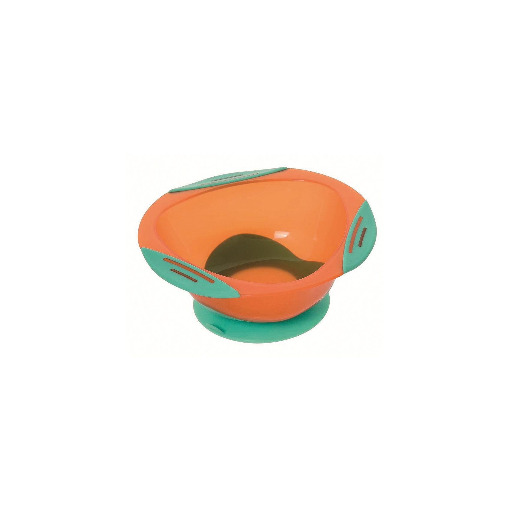 Тарелочка глубокая на присоске, Мир Детства, оранжевый/зеленыйГлубокая  тарелочка подходит для горячей и холодной пищи. <br>Тарелочка имеет:<br>присоску, которая  надежно фиксирует тарелочку на столе (специальный язычок на присоске позволяет легко отлепить тарелочку);<br>по краям тарелочки три нескользящие вставки.<br><br>ВНИМАНИЕ!!!<br>Запрещено стерилизовать и разогревать в СВЧ-печи.<br>Разрешено мыть в посудомоечной машине только в верхнем отделении.<br>Не содержит Бисфенол-А.<br><br>Ширина мм: 70<br>Глубина мм: 100<br>Высота мм: 190<br>Вес г: 140<br>Возраст от месяцев: 4<br>Возраст до месяцев: 24<br>Пол: Унисекс<br>Возраст: Детский<br>SKU: 5439960