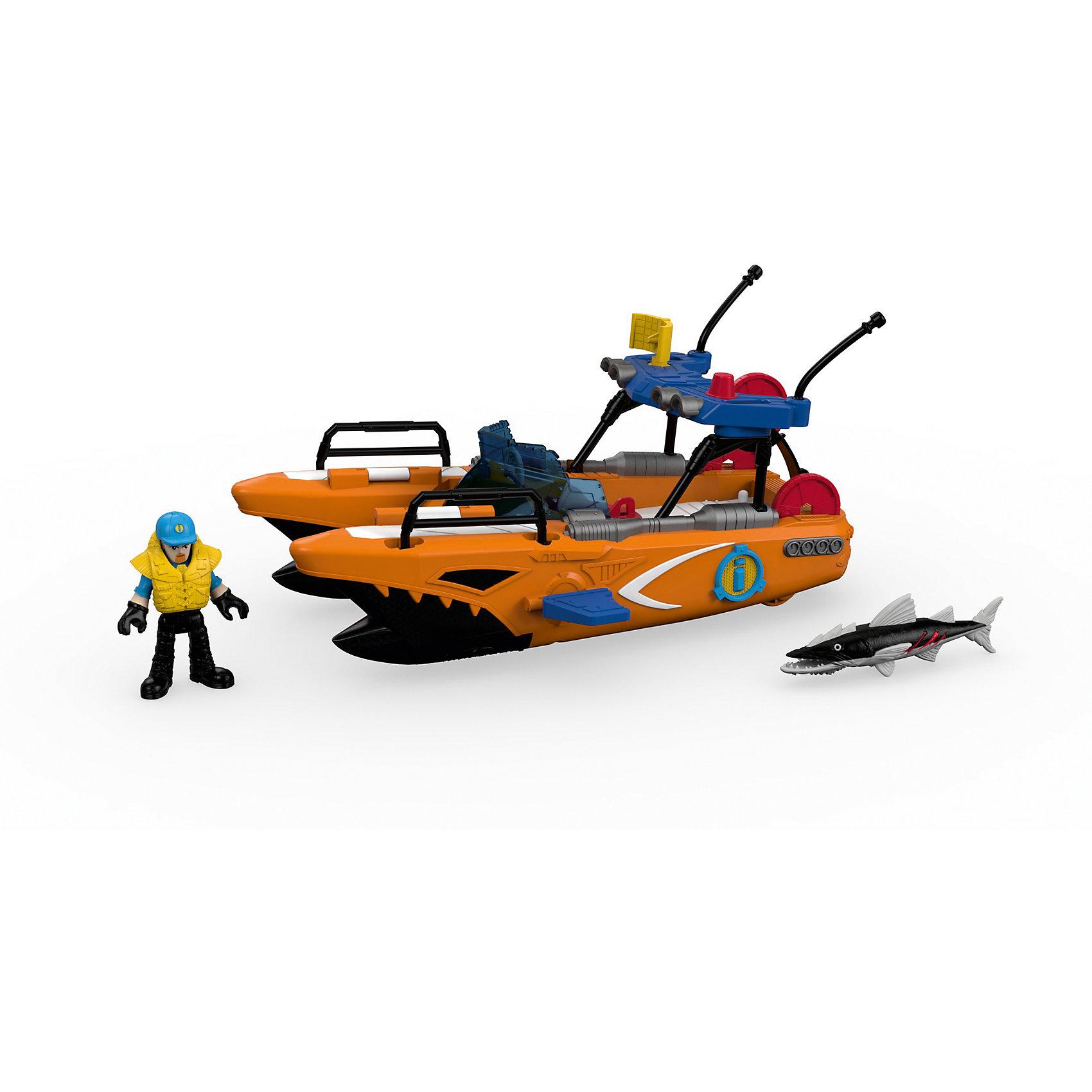 Спасательная турбо-лодка, Imaginext, Fisher PriceКорабли и лодки<br>Спасательная турбо-лодка, Imaginext, Fisher Price (Фишер Прайс).<br><br>Характеристики:<br><br>• Комплектация: лодка, фигурка спасателя, бейсболка, спасательный жилет, 3 диска, 2 торпеды, барракуда<br>• Материал: пластик<br>• Размер лодки: 28х14х15 см.<br>• Упаковка: картонная коробка открытого типа<br>• Размер упаковки: 32x16х22 см.<br><br>Спасательная турбо-лодка, Imaginext, Fisher Price – это игровой набор, который позволит ребенку придумать и реализовать множество увлекательных сюжетов, например: проводить спасательные операции или остановить большую и страшную барракуду. <br><br>Спасательная турбо-лодка выполнена с высокой долей детализации элементов, максимально схожа с катером береговой охраны. Лодка оснащена выдвигающимися торпедными аппаратами, может стрелять торпедами и дисками. Для того, чтобы торпедные аппараты выдвинулись из корпуса турбо-лодки, достаточно повернуть фигурку спасателя, стоящего на палубе в специальных упорах, вправо и влево. <br><br>Для выстрела необходимо нажать на красную кнопку, расположенную на корпусе торпедного аппарата. Диски выстреливаются с кормы лодки с помощью катапульты. Голова, руки и ноги фигурки спасателя, а также челюсти и плавник барракуды подвижны. Набор выполнен из качественного и безопасного пластика, устойчивого к механическим повреждениям. Все элементы окрашены нетоксичными красками.<br><br>Набор Спасательная турбо-лодка, Imaginext, Fisher Price (Фишер Прайс) можно купить в нашем интернет-магазине.<br><br>Ширина мм: 320<br>Глубина мм: 150<br>Высота мм: 215<br>Вес г: 995<br>Возраст от месяцев: 36<br>Возраст до месяцев: 96<br>Пол: Мужской<br>Возраст: Детский<br>SKU: 5440292