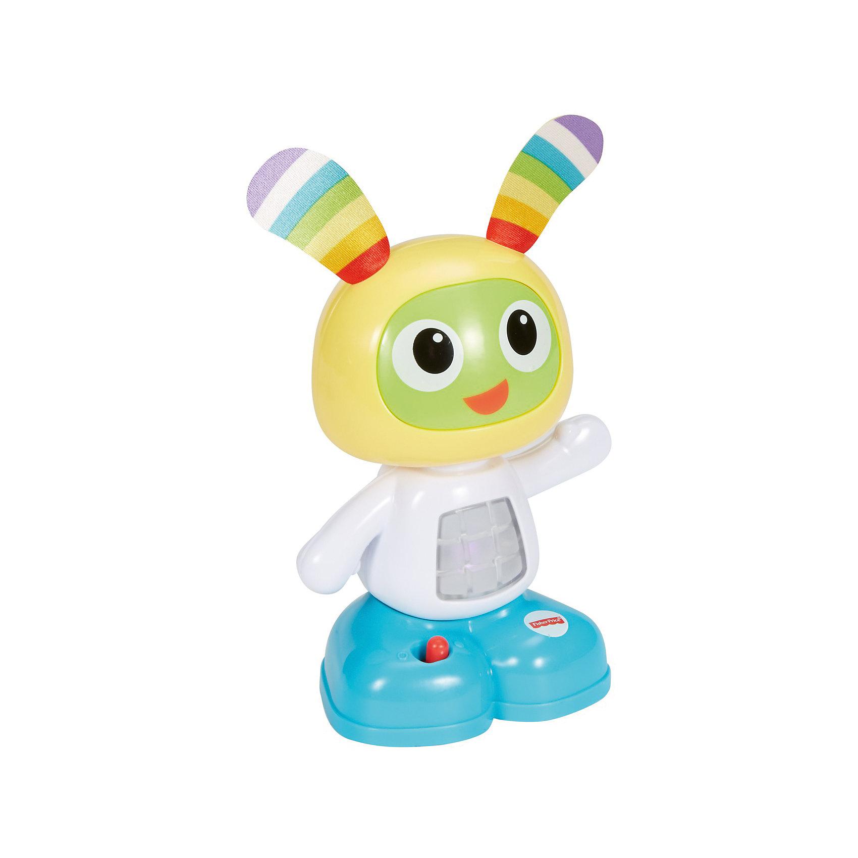 Мини-игрушка Бибо, Fisher PriceРазвивающие игрушки<br>Мини-игрушка Бибо, Fisher Price (Фишер Прайс).<br><br>Характеристики:<br><br>• Высота: 15 см.<br>• Материал: пластик, металл<br>• Батарейки: 2хААА / LR0.3 1,5V (в комплект не входят)<br><br>Обучающая мини-игрушка Бибо от торговой марки Fisher-Price (Фишер Прайс), выполненная в виде забавного зайчика с веселой мордашкой и длинными ушками, привлечет внимание вашего малыша. Внутри игрушки есть звуковой и световой модули, активировать которые можно нажав на покачивающуюся голову. Бибо обучит вашего малыша новым фразам, мелодиям и веселым песенкам, под которые можно танцевать. <br><br>Игрушка поможет ребенку в развитии координации движений, моторных навыков, музыкального и слухового восприятия. С Бибо ваш малыш не заскучает и сможет придумать множество веселых игр и занятий. Игрушка изготовлена из качественного пластика, благодаря чему ей не страшны удары и падения.<br><br>Мини-игрушку Бибо, Fisher Price (Фишер Прайс) можно купить в нашем интернет-магазине.<br><br>Ширина мм: 105<br>Глубина мм: 70<br>Высота мм: 160<br>Вес г: 273<br>Возраст от месяцев: 72<br>Возраст до месяцев: 432<br>Пол: Унисекс<br>Возраст: Детский<br>SKU: 5440294