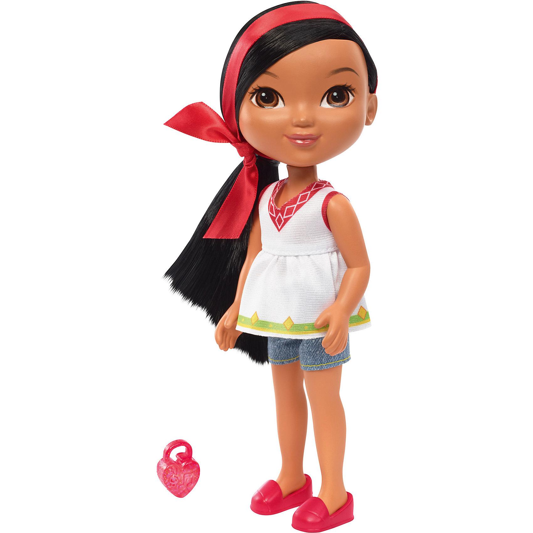 Кукла Найя, Fisher Price, Даша и друзьяДаша-путешественница<br>Кукла Найя, Fisher Price, Даша и друзья.<br><br>Характеристики:<br><br>• В наборе: кукла, шармик для браслета<br>• Высота куклы: 20 см.<br>• Материал: пластик, текстиль<br><br>Кукла Найя из серии Даша и друзья от Fisher-Price - игрушка, о которой мечтают все девочки, следящие за приключениями героев популярного детского мультфильма. С этой куклой игры девочки будут наполнены приключениями и волшебством, ведь Найя использует все свои возможности, чтобы игры были разнообразными. Кукла одета в белую тунику, короткие джинсовые шорты, на ногах у нее - ярко-розовые туфли. Длинные черные волосы куклы уложены в прическу, украшенную длинной розовой лентой. Лицо куклы тщательно прорисовано. У Найи большие выразительные карие глаза. Руки и ноги куклы подвижны, шарниров в суставах нет. <br><br>Кукла изготовлена из качественных безопасных для здоровья материалов. В дополнение к кукле в набор входит шармик для браслета, который может быть использован с интерактивной куклой этой серии — Fisher-Price Talking Dora &amp; Smartphone! Просто наложите шармик в магический смартфон, чтобы услышать мелодии и фразы!<br><br>Куклу Найя, Fisher Price, Даша и друзья можно купить в нашем интернет-магазине.<br><br>Ширина мм: 115<br>Глубина мм: 70<br>Высота мм: 230<br>Вес г: 218<br>Возраст от месяцев: 36<br>Возраст до месяцев: 120<br>Пол: Женский<br>Возраст: Детский<br>SKU: 5440328