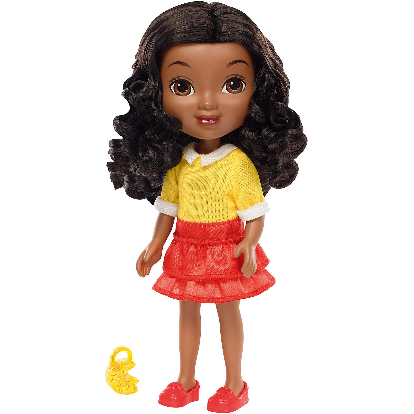Кукла Эмма, Fisher Price, Даша и друзьяКукла Эмма, Fisher Price, Даша и друзья.<br><br>Характеристики:<br><br>• В наборе: кукла, шармик для браслета<br>• Высота куклы: 20 см.<br>• Материал: пластик, текстиль<br><br>Кукла Эмма из серии Даша и друзья от Fisher-Price - игрушка, о которой мечтают все девочки, следящие за приключениями героев популярного детского мультфильма. С этой куклой игры девочки наполнятся новыми приключениями, ведь Эмма будет использовать все свои возможности и разгадает все тайны. Эмма одета в желтую трикотажную кофту, ярко-красную юбку с оборками и ярко-красные туфли. Длинные волнистые черные волосы куклы красиво уложены в прическу, их можно расчесывать и заплетать. Лицо куклы тщательно прорисовано. У Эммы большие выразительные карие глаза. Руки и ноги куклы подвижны, шарниров в суставах нет. <br><br>Кукла изготовлена из качественных безопасных для здоровья материалов. В дополнение к кукле в набор входит шармик для браслета, который может быть использован с интерактивной куклой этой серии — Fisher-Price Talking Dora &amp; Smartphone! Просто наложите шармик в магический смартфон, чтобы услышать мелодии и фразы!<br><br>Куклу Эмма, Fisher Price, Даша и друзья можно купить в нашем интернет-магазине.<br><br>Ширина мм: 115<br>Глубина мм: 70<br>Высота мм: 230<br>Вес г: 218<br>Возраст от месяцев: 36<br>Возраст до месяцев: 120<br>Пол: Женский<br>Возраст: Детский<br>SKU: 5440329