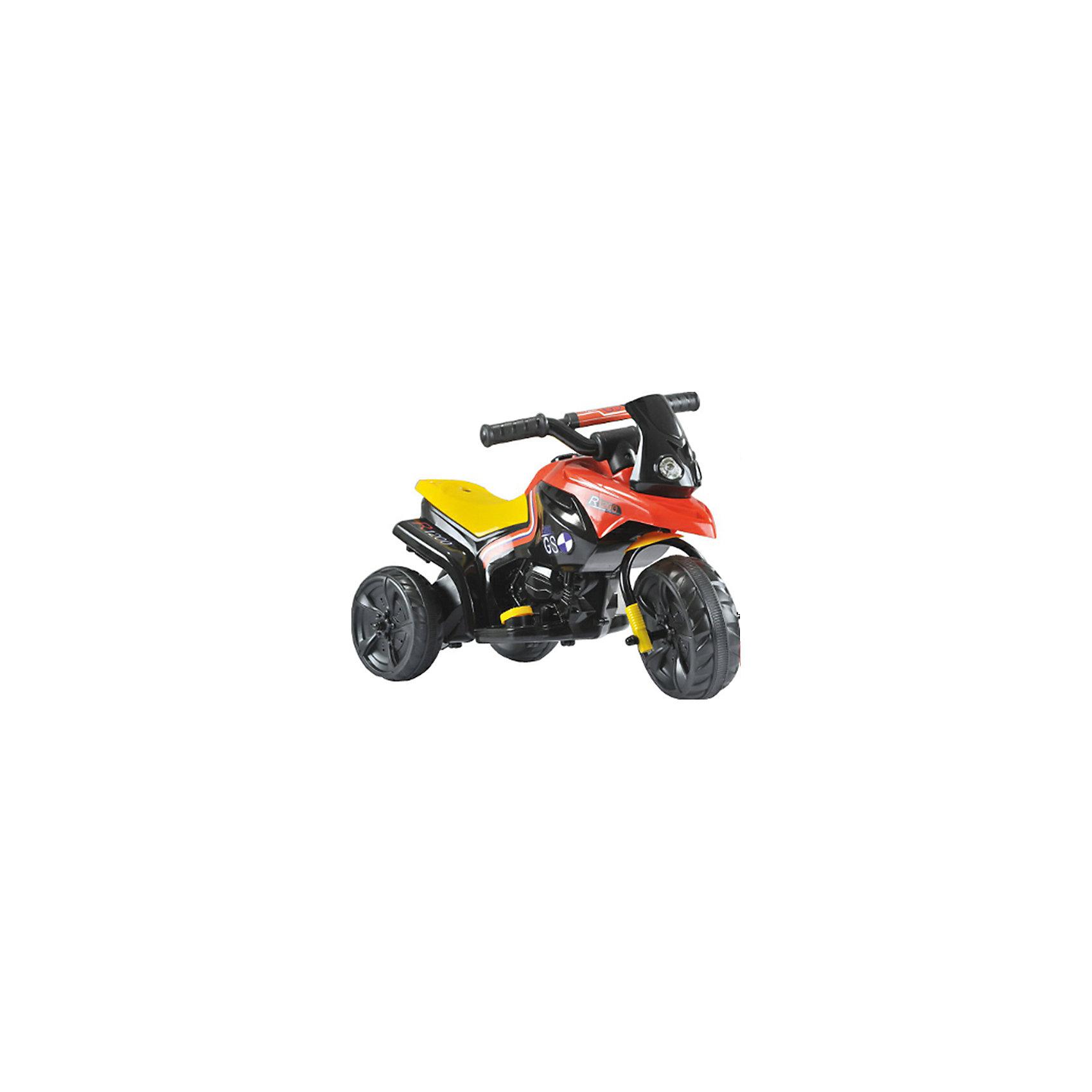 Детский эектрический мотоцикл, черно-красный, 1toy
